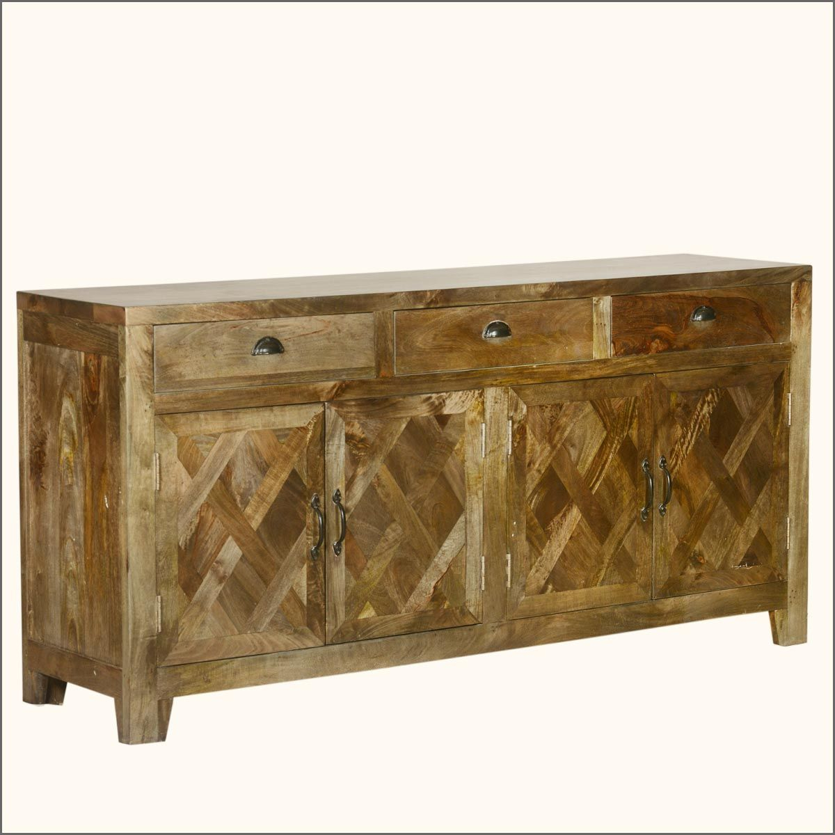 Parquet Sideboards Intended For Latest Parquet Farmhouse Mango Wood Rustic Sideboard Buffet Cabinet In  (View 9 of 20)