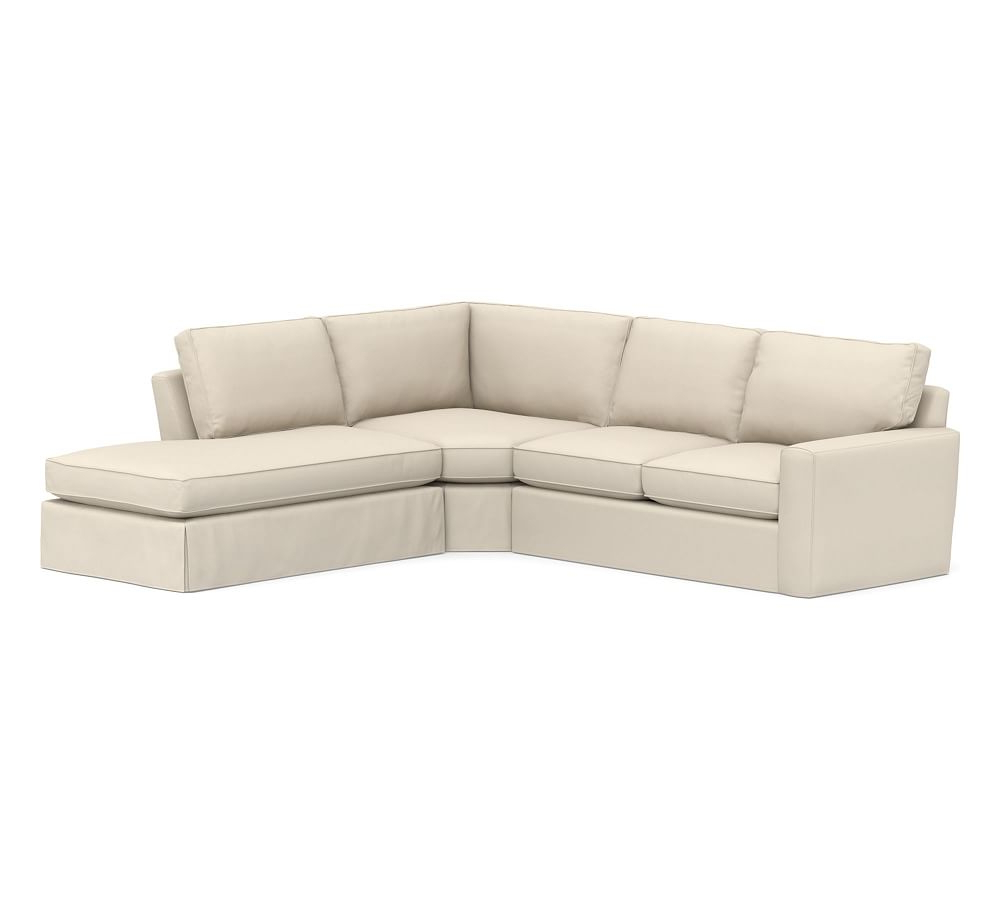 Pearce Square Arm Slipcovered Left 3 Piece Bumper Wedge Sectional Intended For Famous Marissa Ii 3 Piece Sectionals (View 20 of 20)