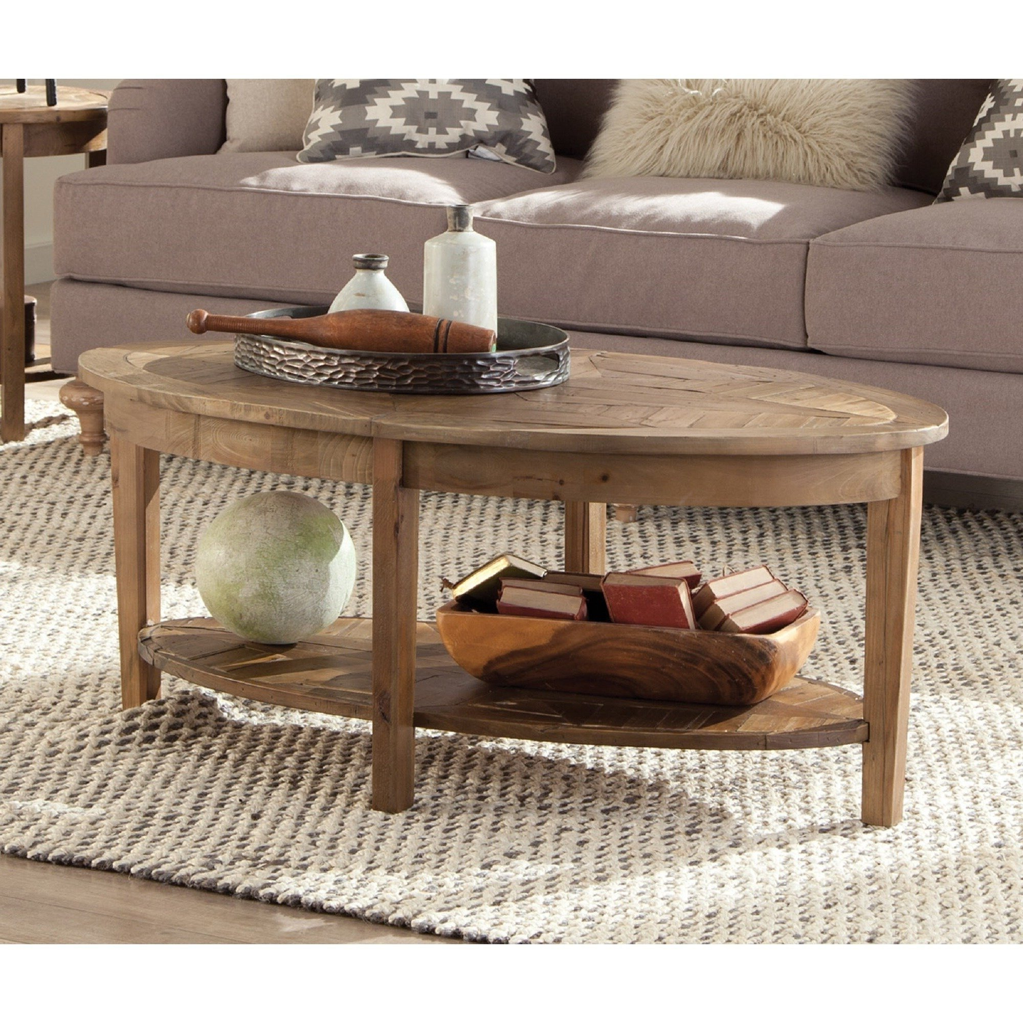 Pine Canopy Everglades Reclaimed Wood Oval Coffee Table (Natural Regarding Most Up To Date Recycled Pine Stone Side Tables (View 12 of 20)