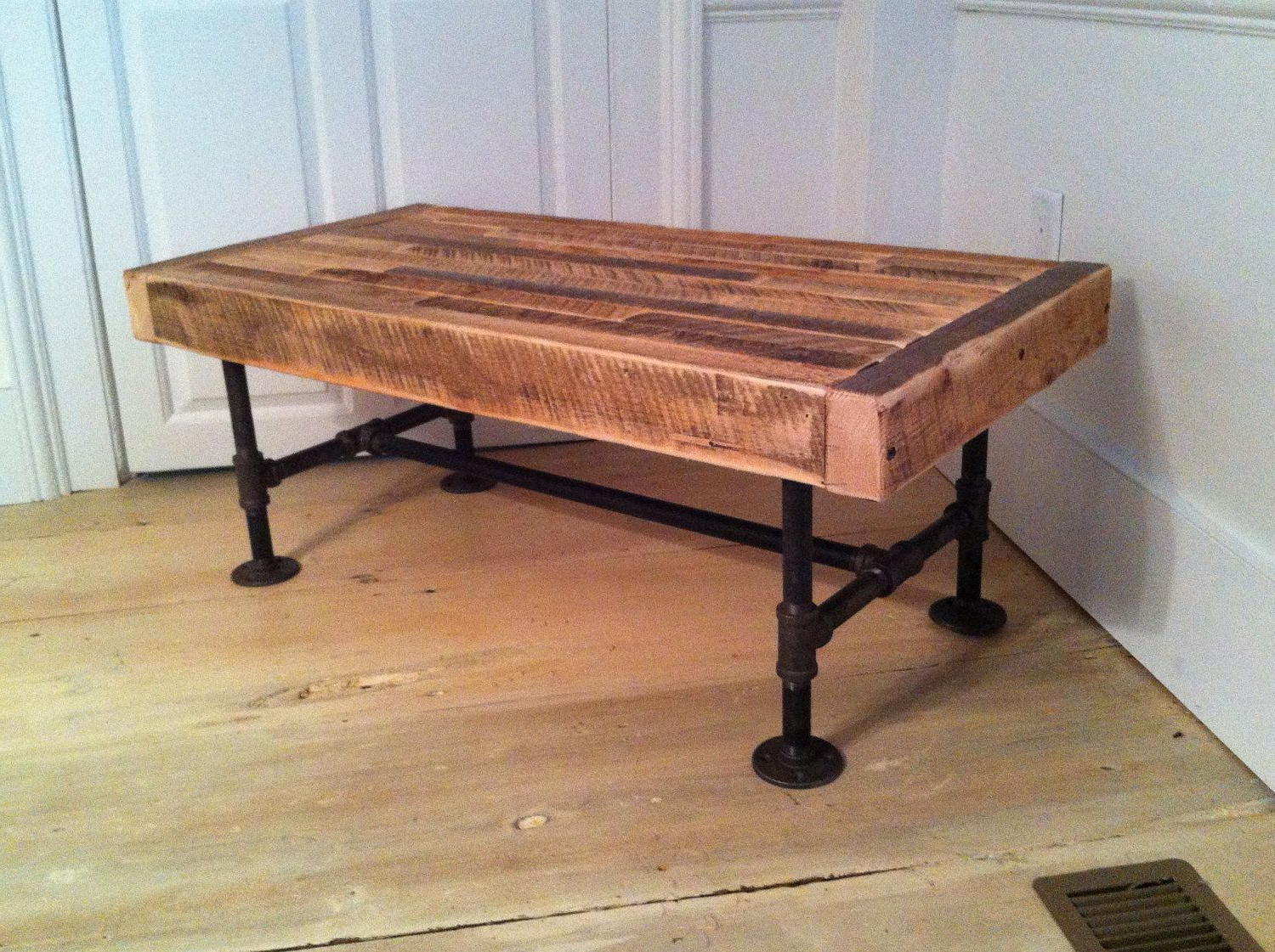 Pine Metal Tube Coffee Tables Inside 2018 Industrial Wood & Steel Coffee Table, Reclaimed Barnwood With (View 5 of 20)
