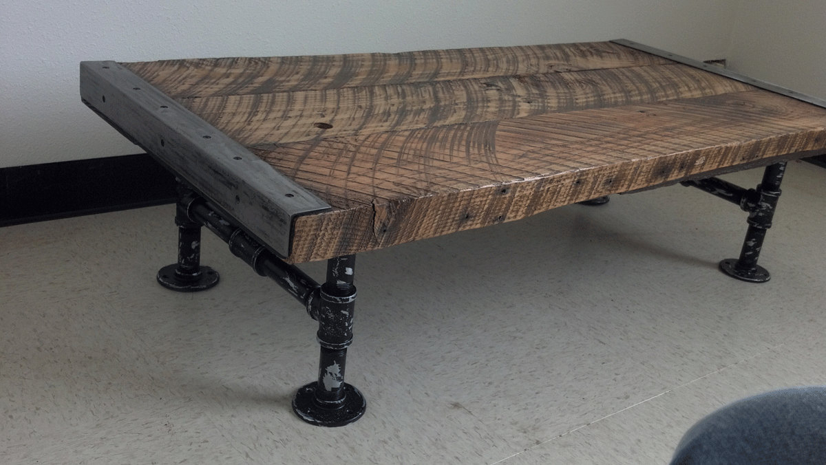 Pine Metal Tube Coffee Tables Within Widely Used Coffee Table Customizable Industrial Old Barnwood Distressed Full (View 15 of 20)