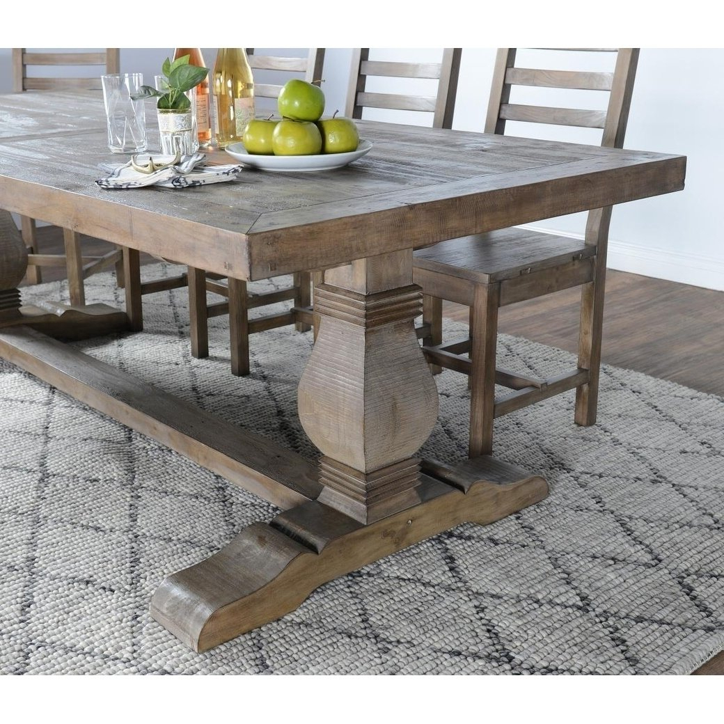 Popular 33 Inch Industrial Round Tables Regarding Shop Kasey Reclaimed Wood Desert Grey Dining Tablekosas Home (View 7 of 20)