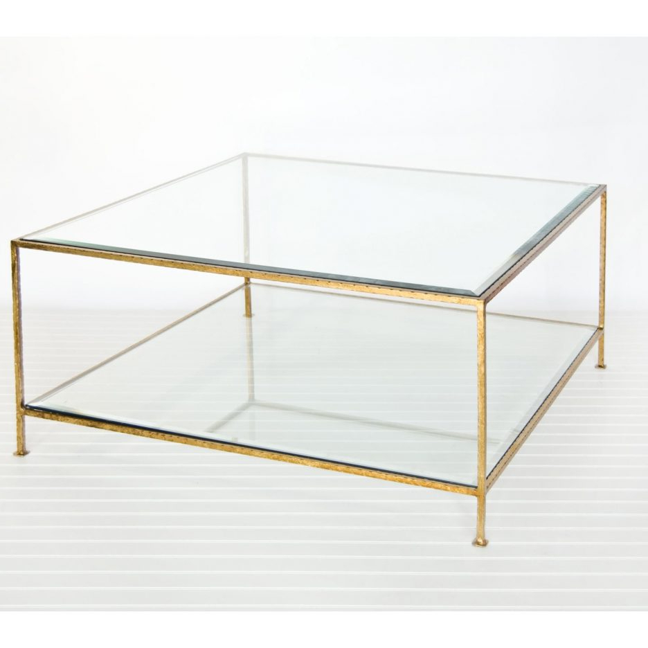 Popular Acrylic Glass And Brass Coffee Tables Regarding Round Glass Tables For Living Room Large Square Mirrored Coffee (View 16 of 20)