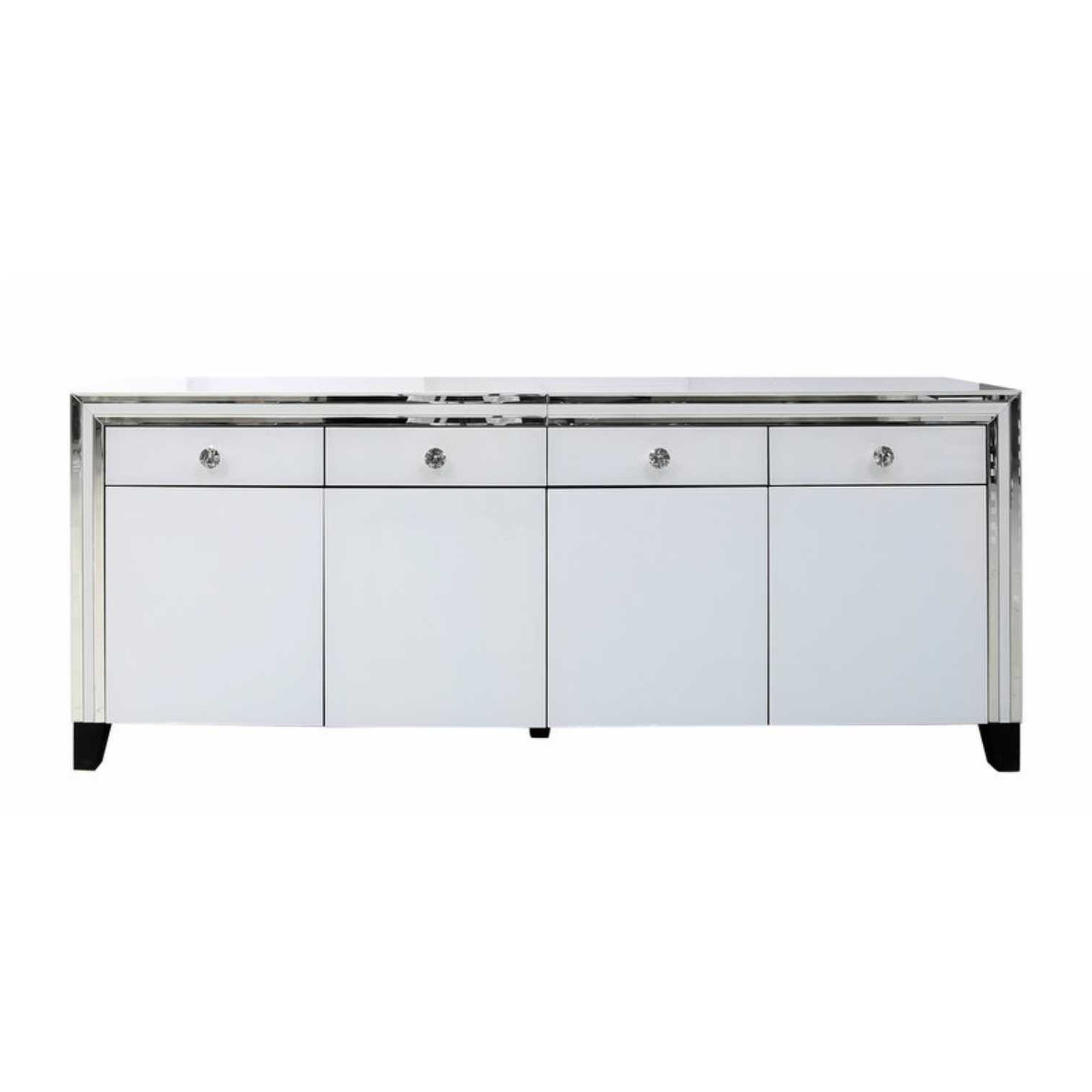Popular Aged Mirrored 2 Door Sideboards Inside White Manhattan Mirror 4 Drawer 4 Door Cabinet  White London (View 14 of 20)