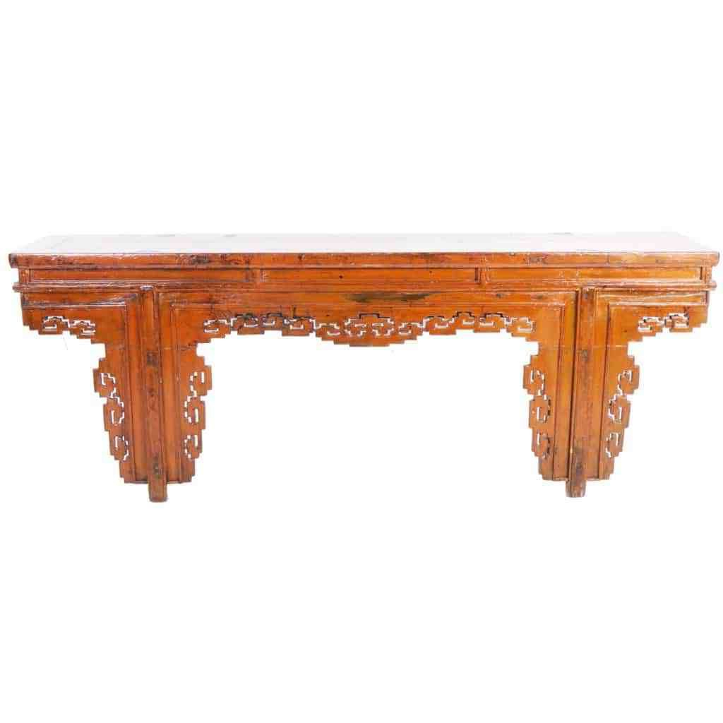 Popular Antique Chinese 91 Inch Long Orange Altar Console Table W Fancy For Reclaimed Elm 91 Inch Sideboards (View 3 of 20)
