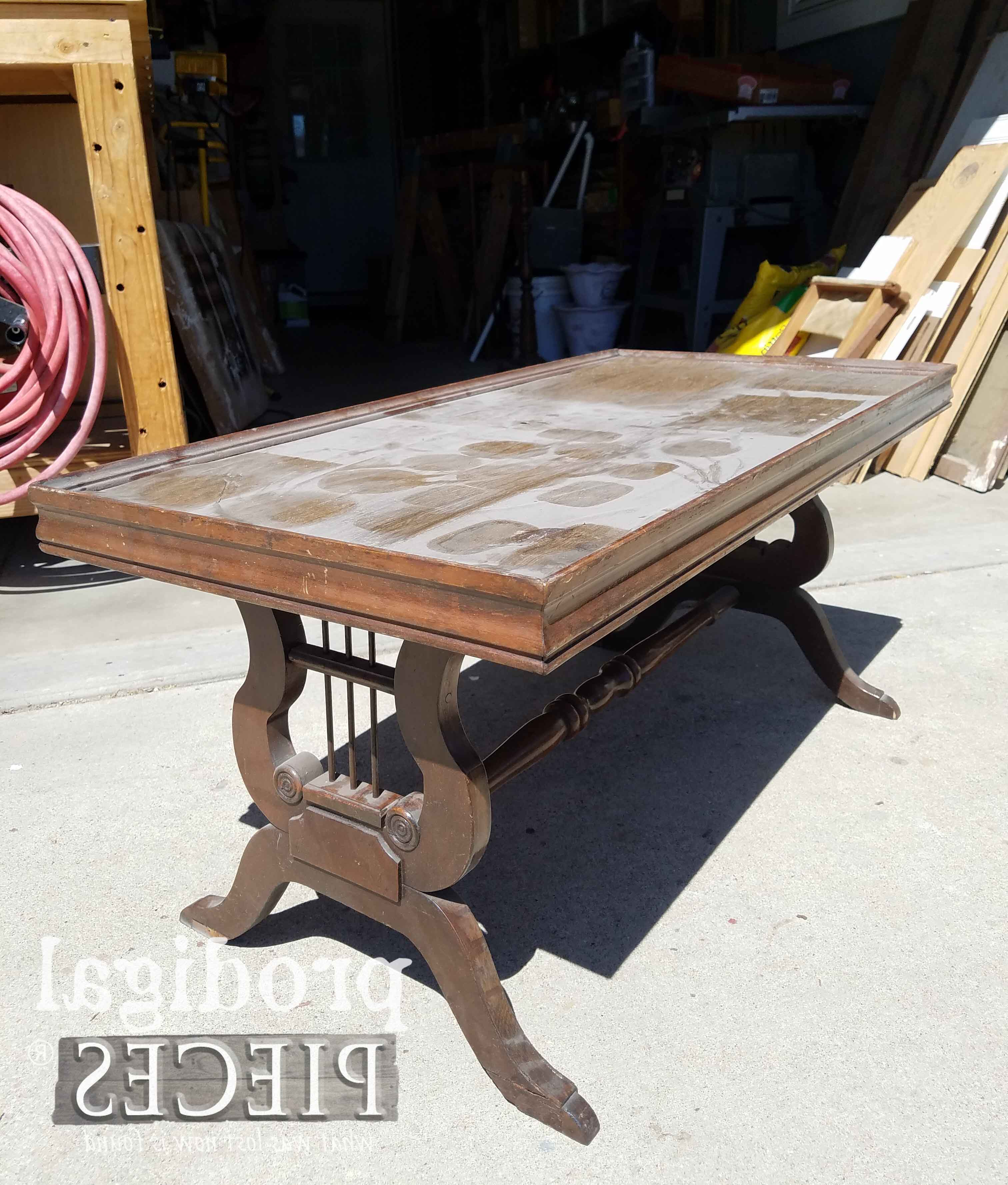 Popular Antique Lyre Coffee Table Rescued & Restored – Prodigal Pieces With Lyre Coffee Tables (View 4 of 20)