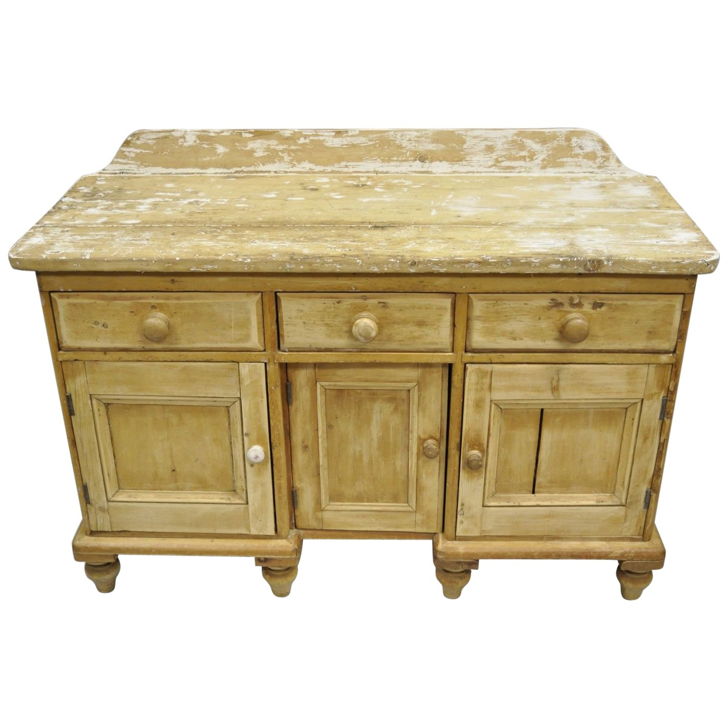 Popular Antique White Distressed 3 Drawer/2 Door Sideboards With Antique Pinewood Distress Painted Sideboard Server Primitive Rustic (Gallery 19 of 20)