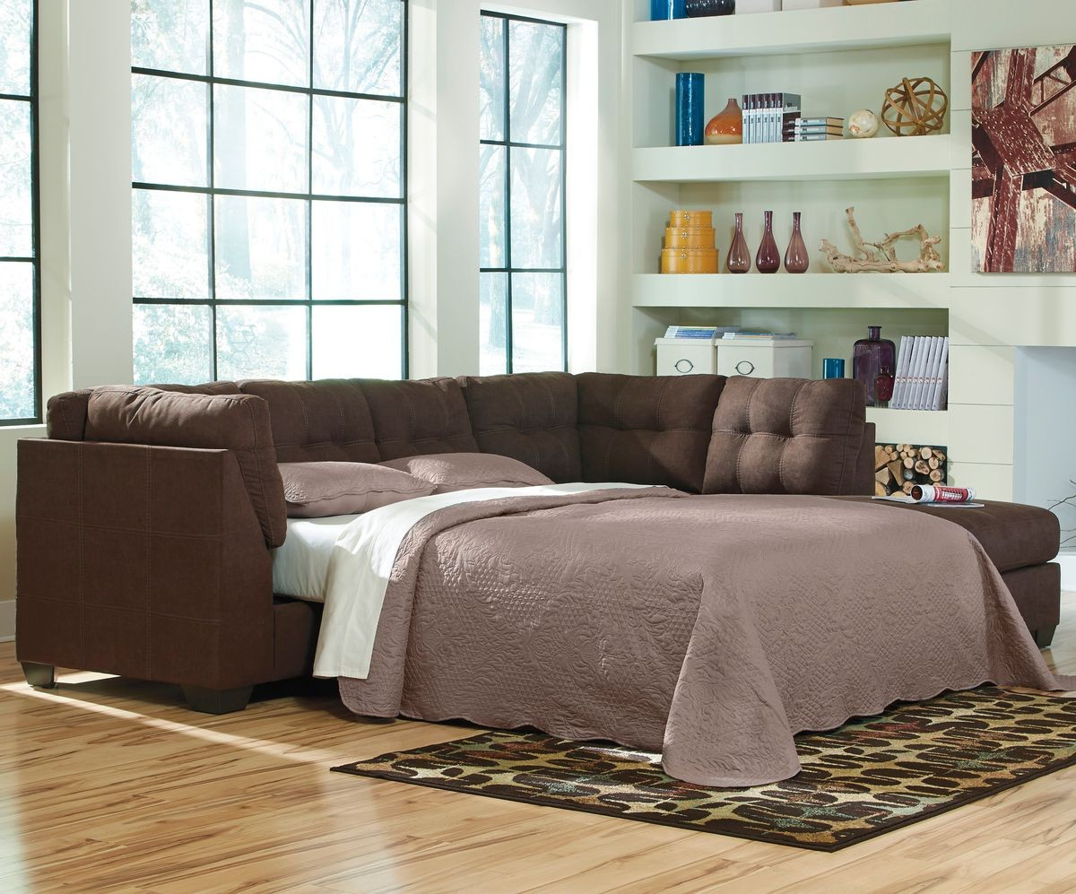 Popular Ashley Furniture Maier 2 Piece Sleeper Sectional In Walnut With Laf Throughout Aspen 2 Piece Sleeper Sectionals With Raf Chaise (View 19 of 20)