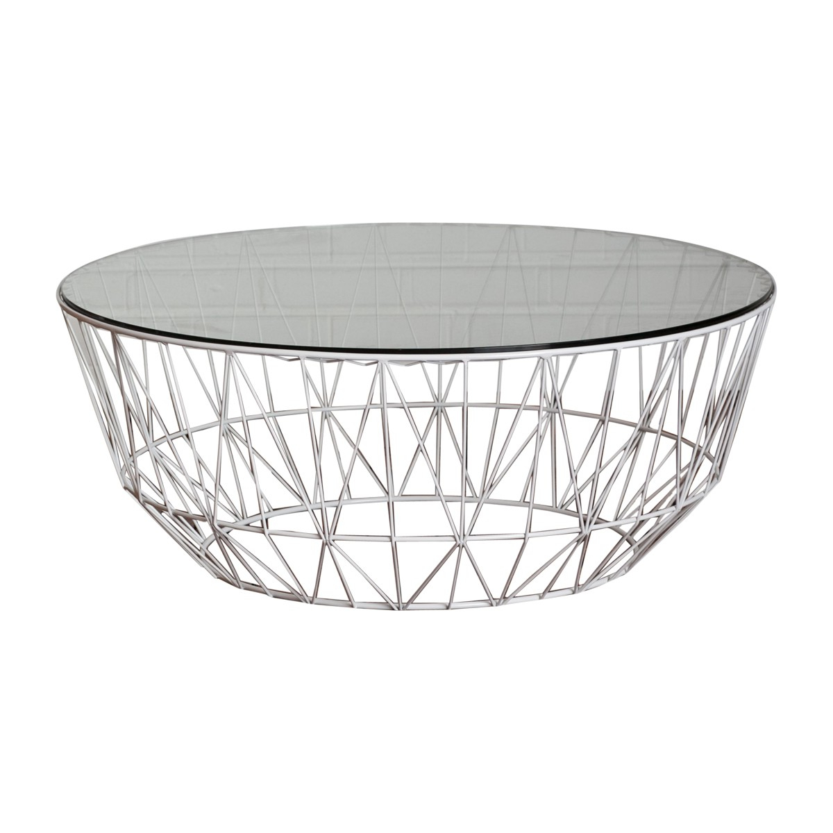 Popular Black Wire Coffee Tables Within Life Interiors – Studio Wire Glass Coffee Table (White) – Modern (View 6 of 20)