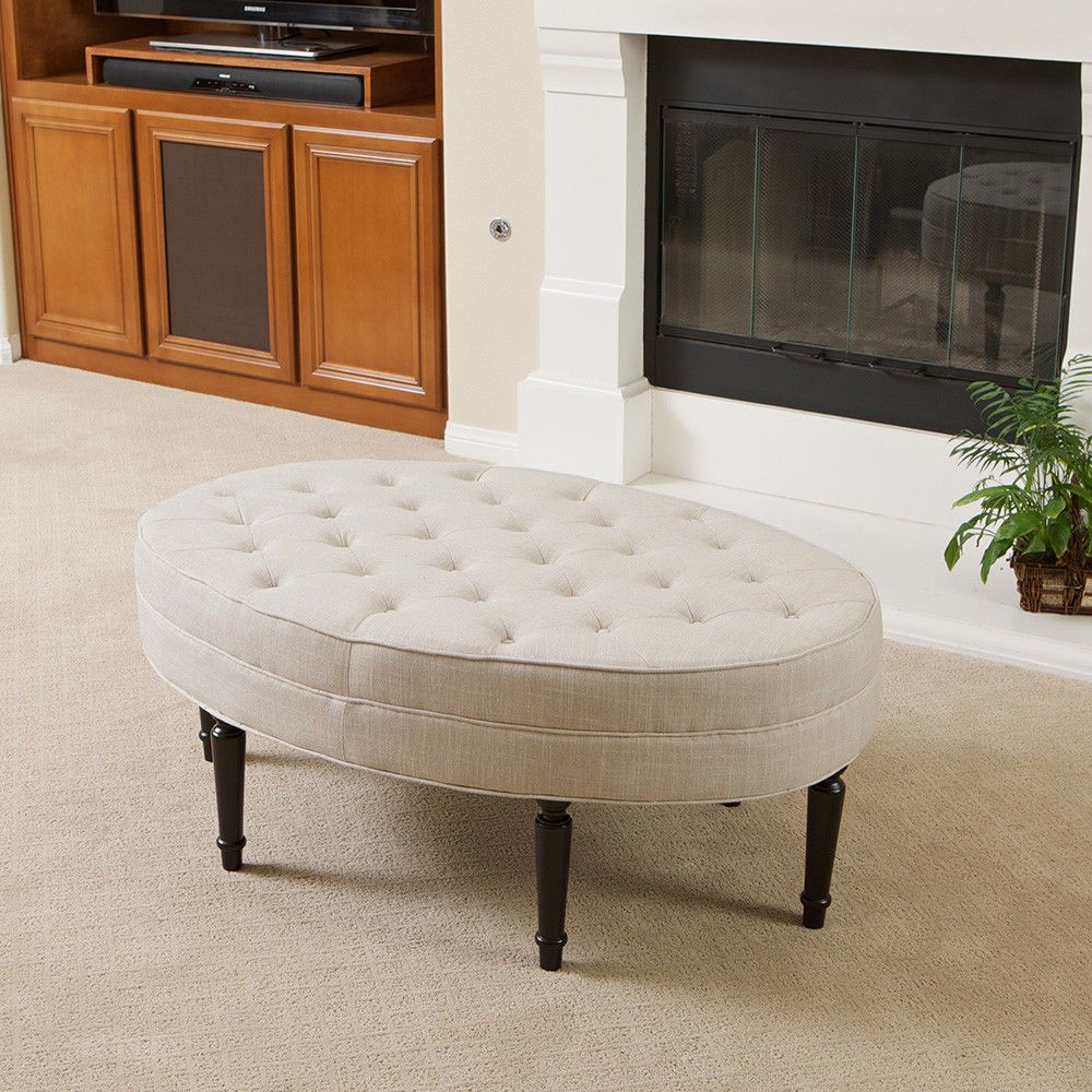 Popular Button Tufted Coffee Tables Intended For Tufted Top Linen Upholstered Oval Ottoman Coffee Table W/ Button (Gallery 13 of 20)
