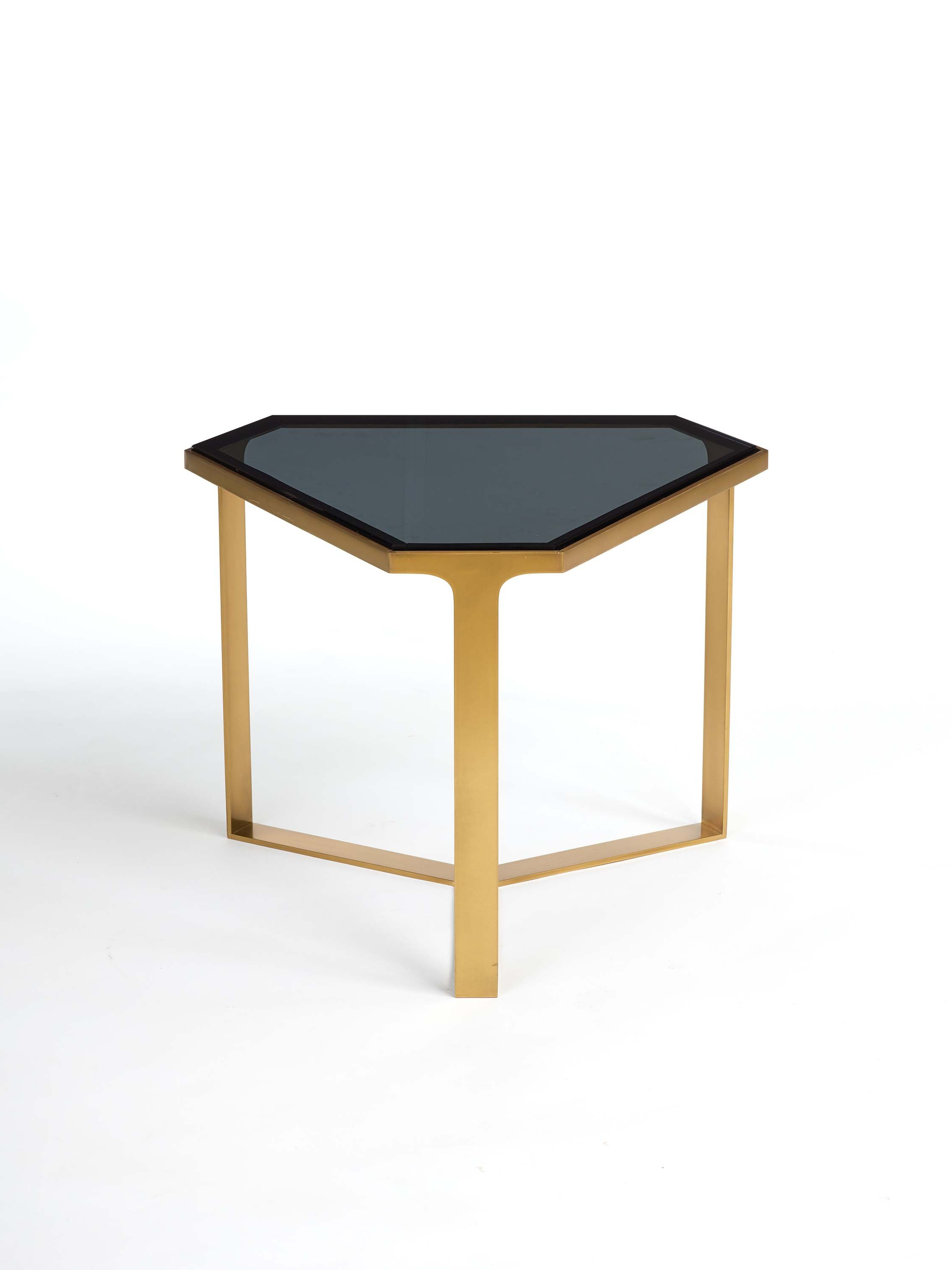 Popular Donghia Forma Table With Satin Brass Base And Gray Glass Top For Throughout Forma Cocktail Tables (View 11 of 20)