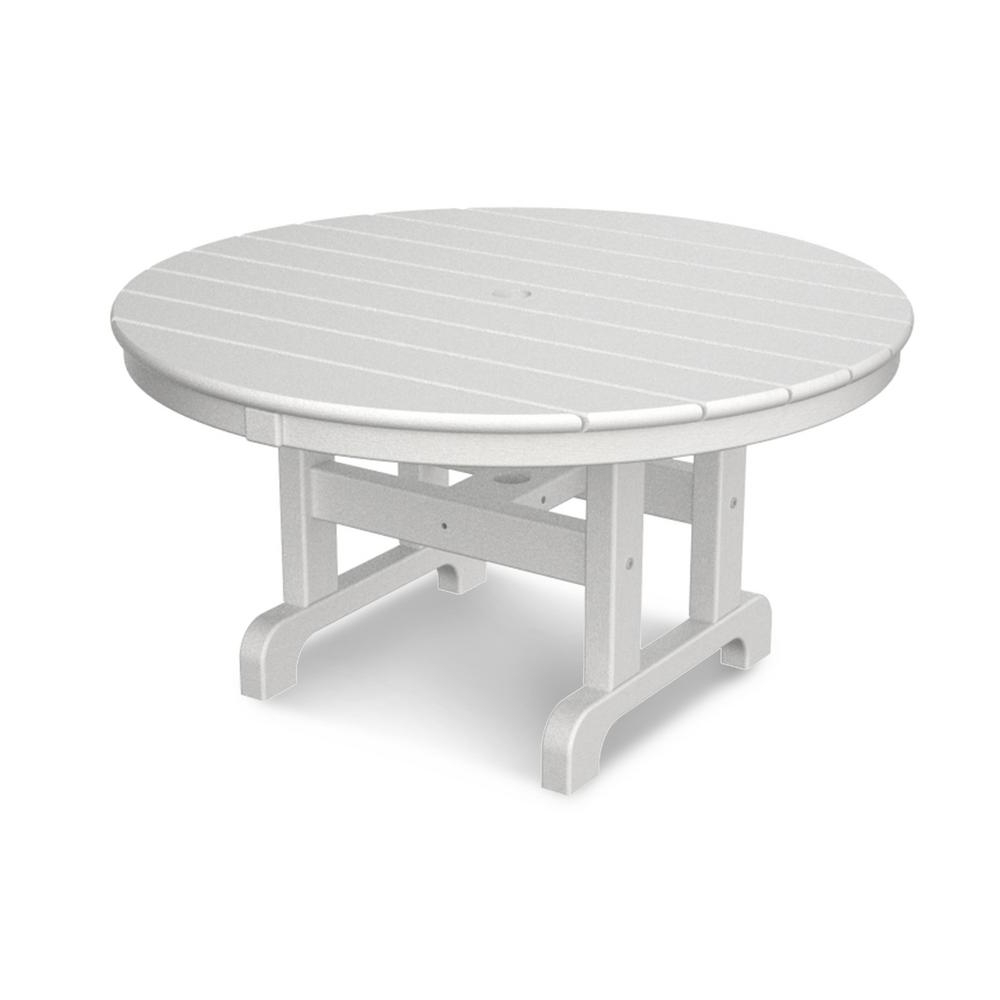 Popular Haven Coffee Tables Throughout Polywood White 36 In. Round Outdoor Patio Coffee Table Rct236Wh (Gallery 15 of 20)