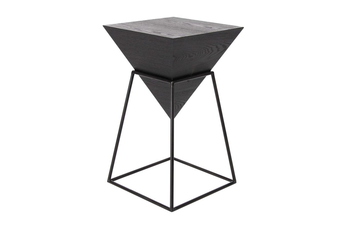 Popular Inverted Triangle Coffee Tables For Modern Reflections Inverted Pyramid Accent Table In Metallic Black (View 5 of 20)