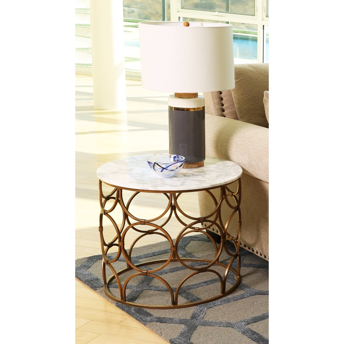 Popular Iron Marble Coffee Tables For Shop Abbyson Roland Round Faux Marble Coffee Table – On Sale – Free (View 16 of 20)