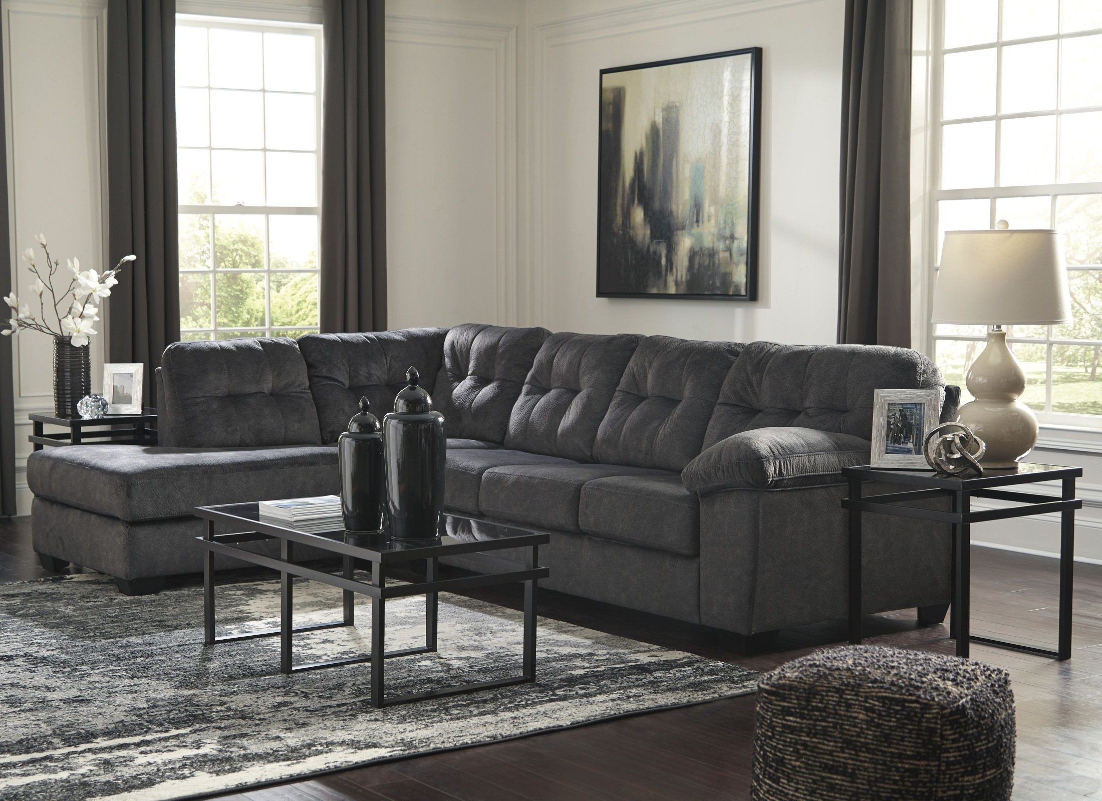 Popular Kerri 2 Piece Sectionals With Raf Chaise Inside Signature Designashley Accrington Granite Raf Sectional (View 15 of 20)