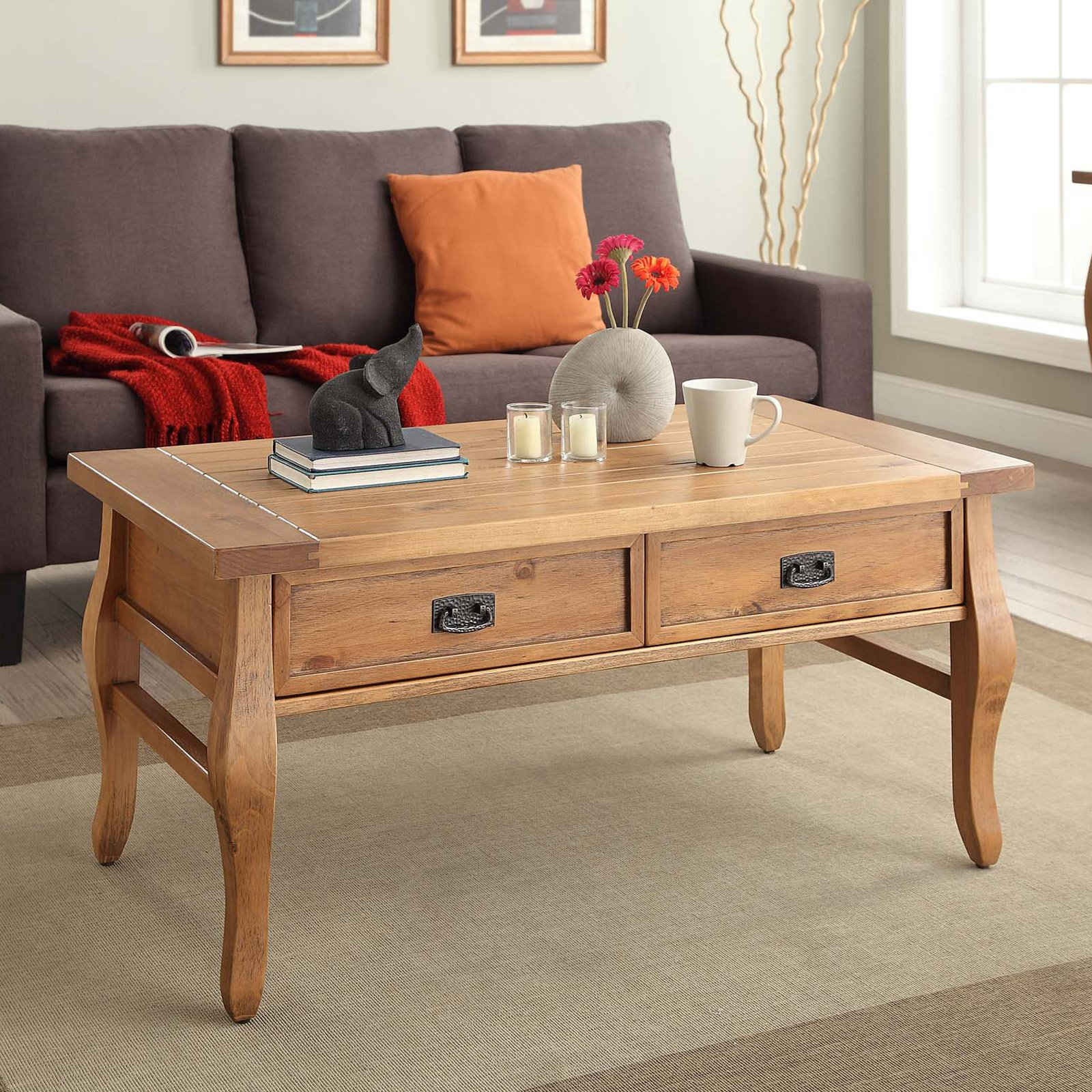 Popular Linon Santa Fe Coffee Table, Two Storage Drawers, Antique Finish Within Santa Fe Coffee Tables (View 12 of 20)