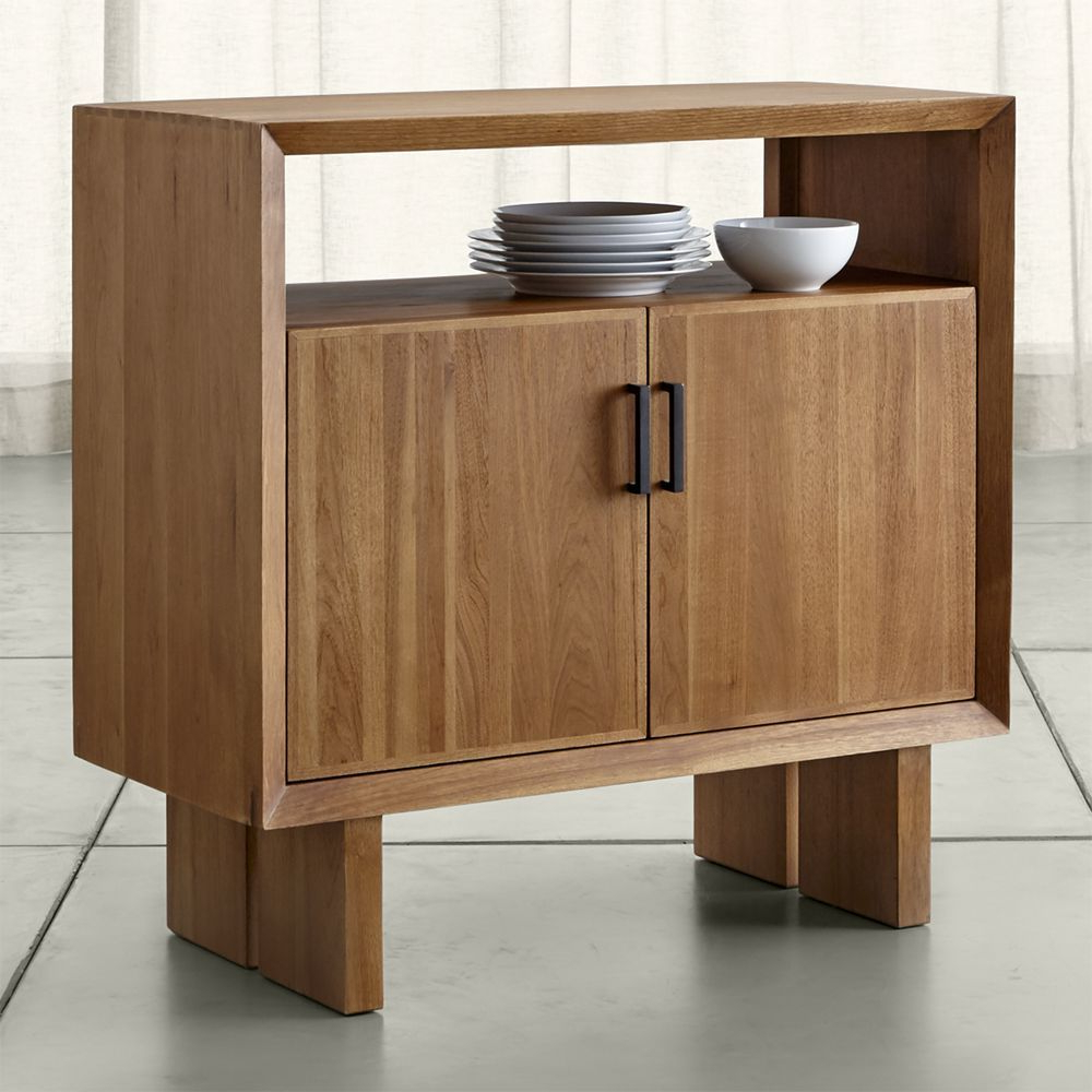 Popular Monarch Natural Solid Walnut Small Sideboard – Crate And Barrel With Walnut Small Sideboards (Gallery 11 of 20)