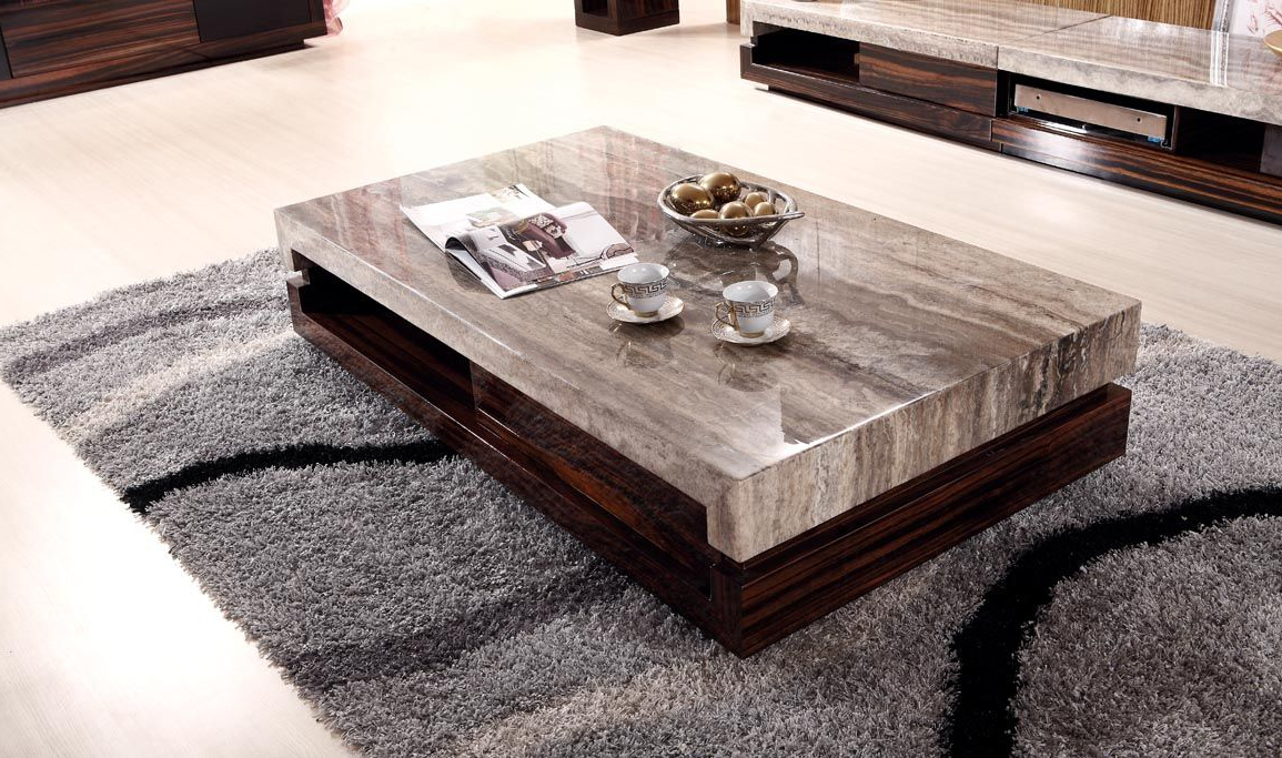 Popular Newland Modern Marble Top Coffee Table And End Table (K 028A) (View 15 of 20)