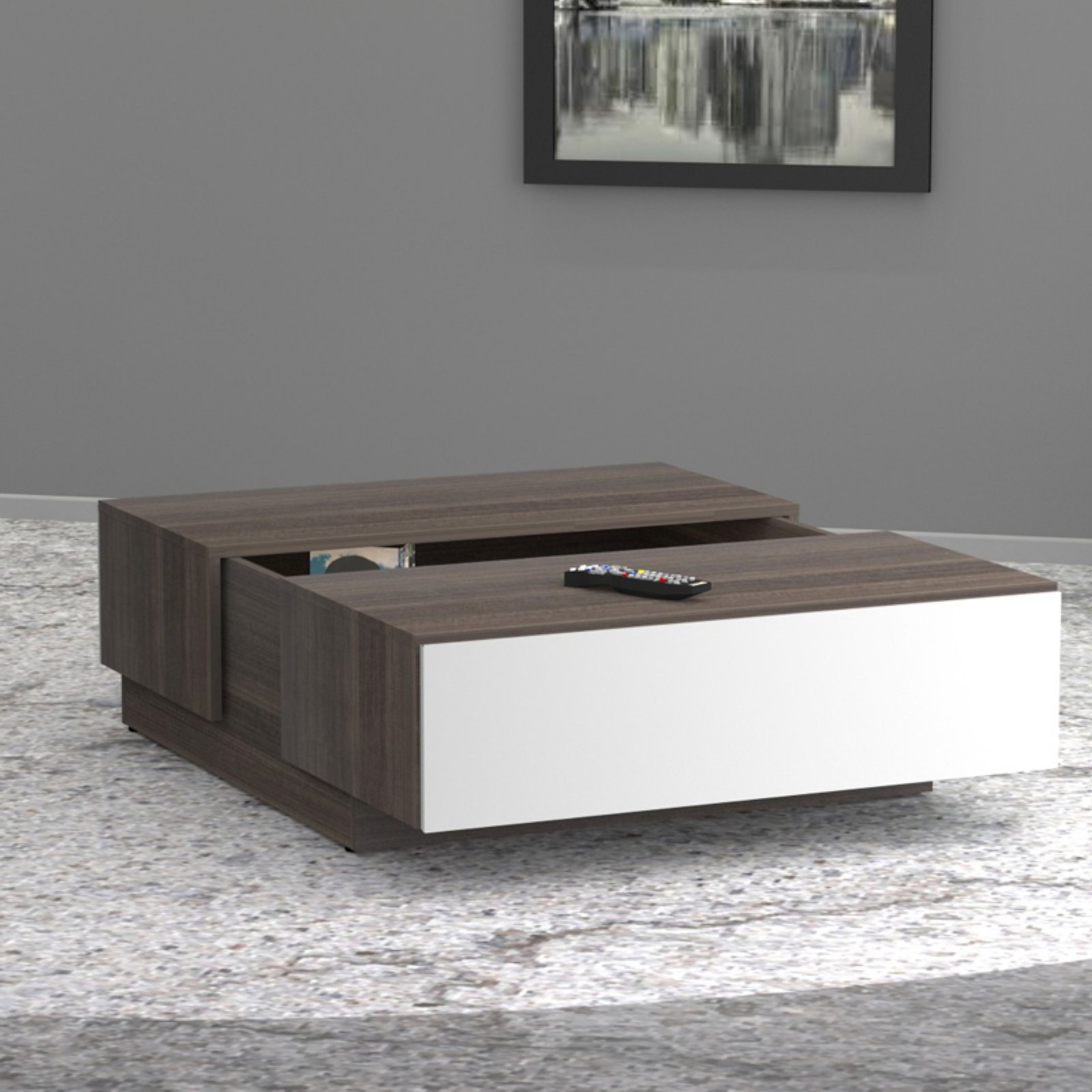 Popular Nexera Allure Coffee Table With Hidden Storage, White/ebony Intended For Allure Cocktail Tables (View 5 of 20)