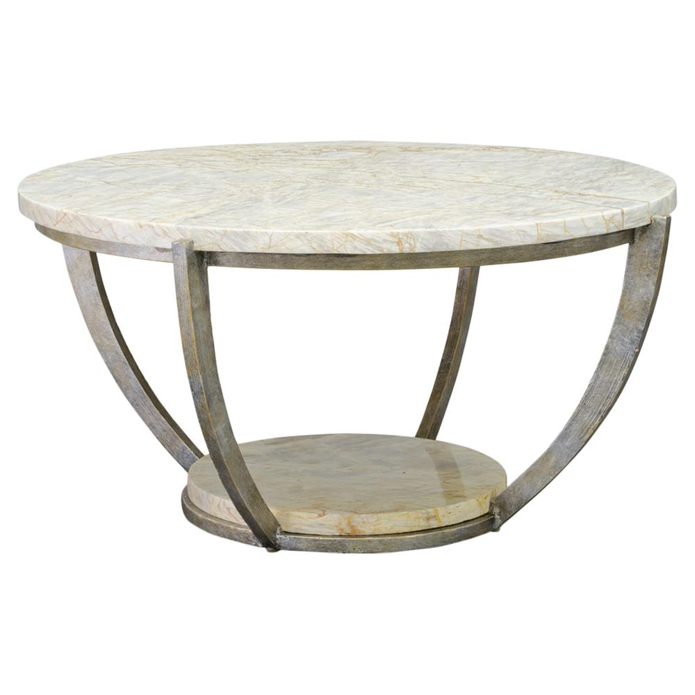 Popular Palecek Brandt Regency Curved Iron Natural Marble Coffee Table With Iron Marble Coffee Tables (View 8 of 20)