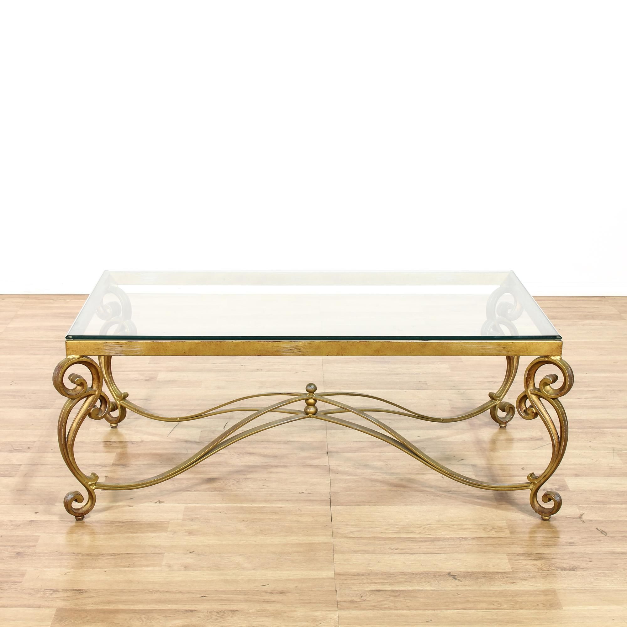 Popular Rectangular Brass Finish And Glass Coffee Tables Intended For This Hollywood Regency Style Coffee Table Is Featured In A Durable (View 19 of 20)