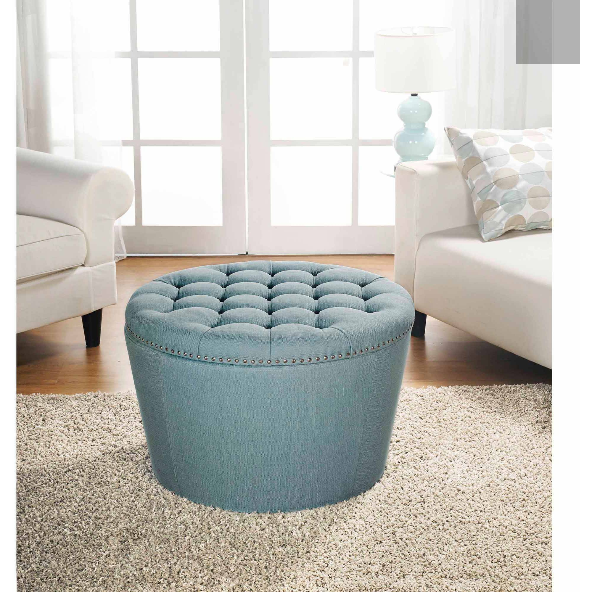 Popular Round Button Tufted Coffee Tables Regarding Better Homes And Gardens Round Tufted Storage Ottoman With Nailheads (View 12 of 20)