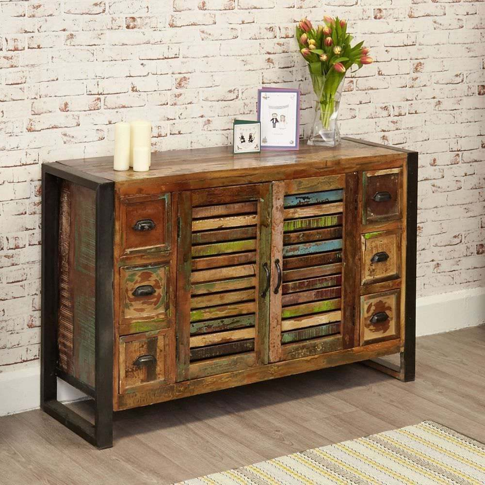 Popular Rustic Industrial Six Drawer Sideboard – Reclaimed Wood (View 14 of 20)