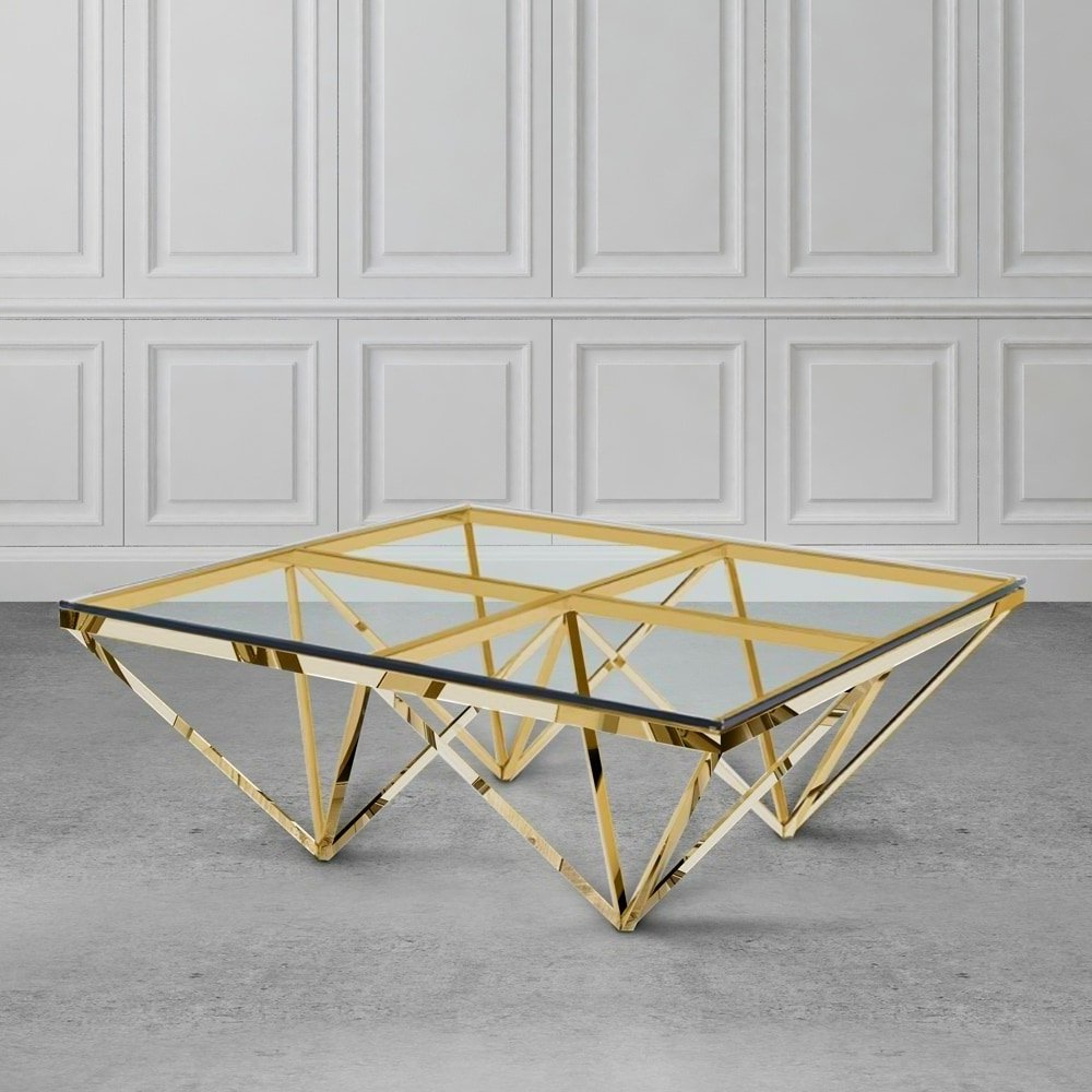 Popular Shop Zest Glass And Metal Square Coffee Table – Free Shipping Today In Inverted Triangle Coffee Tables (Gallery 15 of 20)