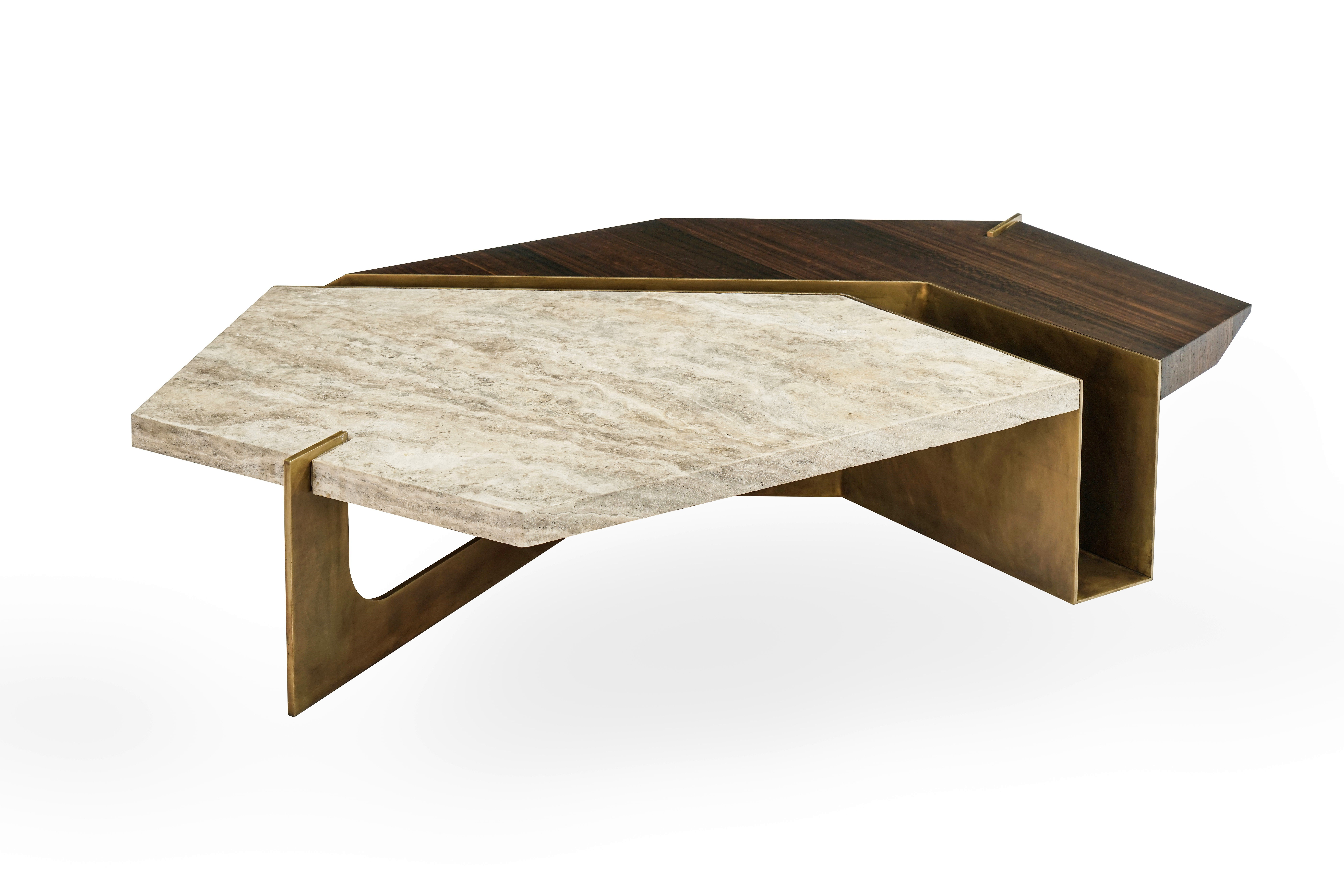Popular Stratus Cocktail Tables For Stratus Coffee Table, Contemporary Centre Table In Aged Brass And (View 13 of 20)