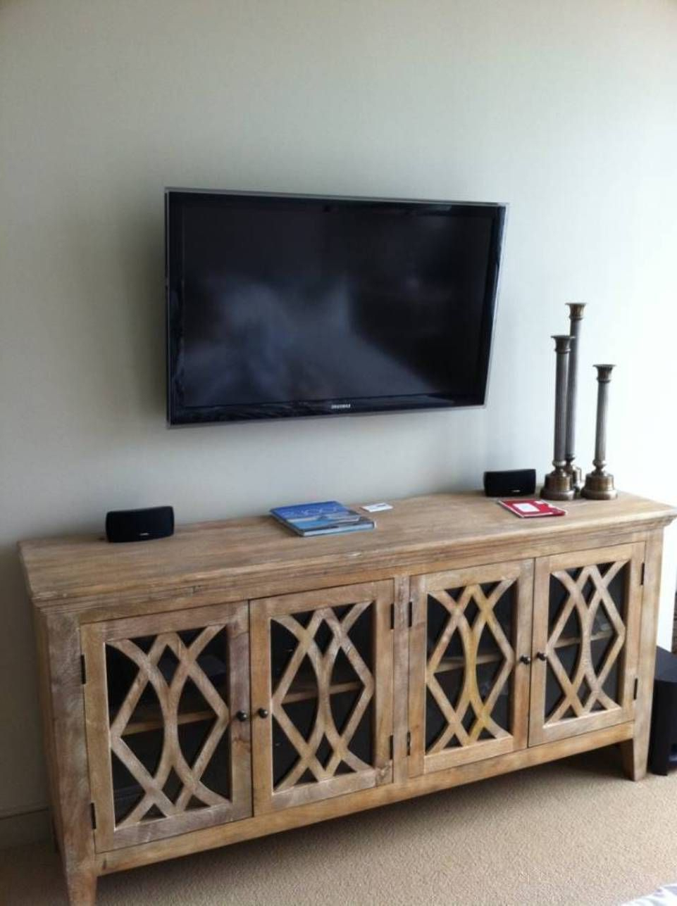 Popular Wall Mounted Tv Over Sideboard : Modern Wall Mounted Tv Gallery Within Reclaimed Elm 91 Inch Sideboards (View 14 of 20)