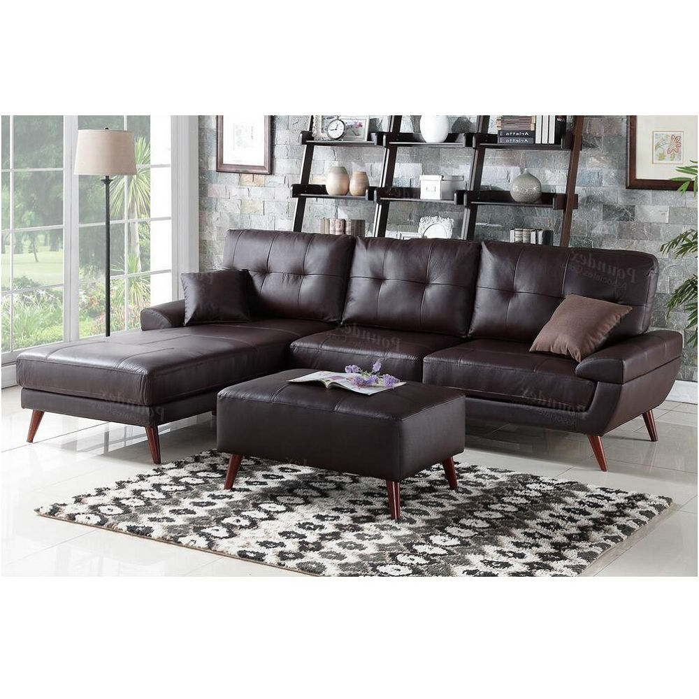 Poundex Brown 2 Pcs Sectional Sofa F (View 12 of 20)