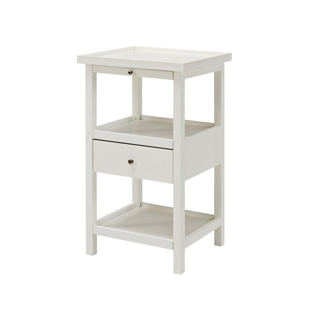 Powell Palmer White Table With Shelf 16a8255w – The Home Depot In Preferred Palmer Storage Cocktail Tables (View 14 of 20)