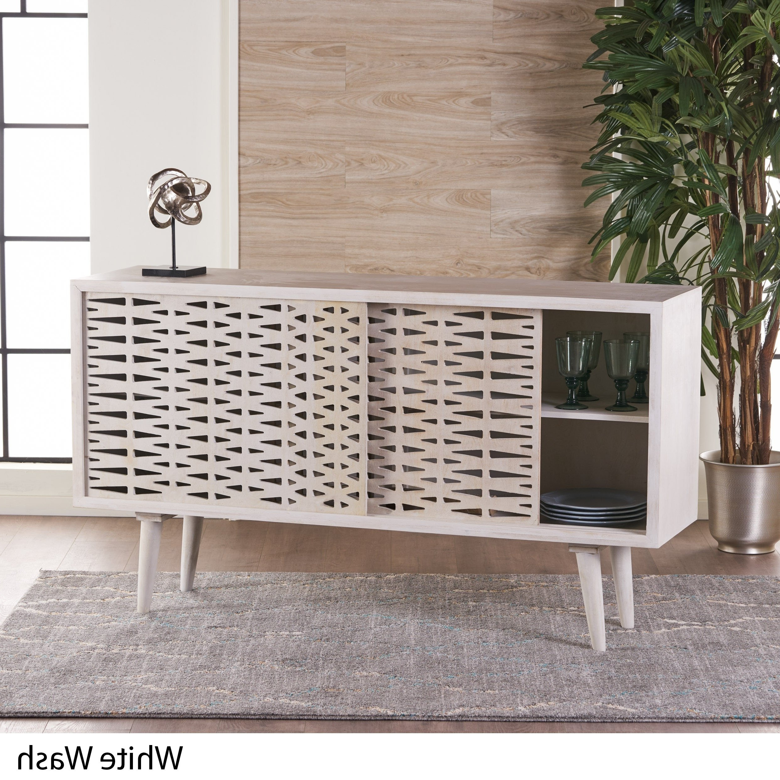 Preferred 4 Door 3 Drawer White Wash Sideboards In Shop Gibson Wood Sideboard Buffet Cabinet With Sliding Door (View 9 of 20)