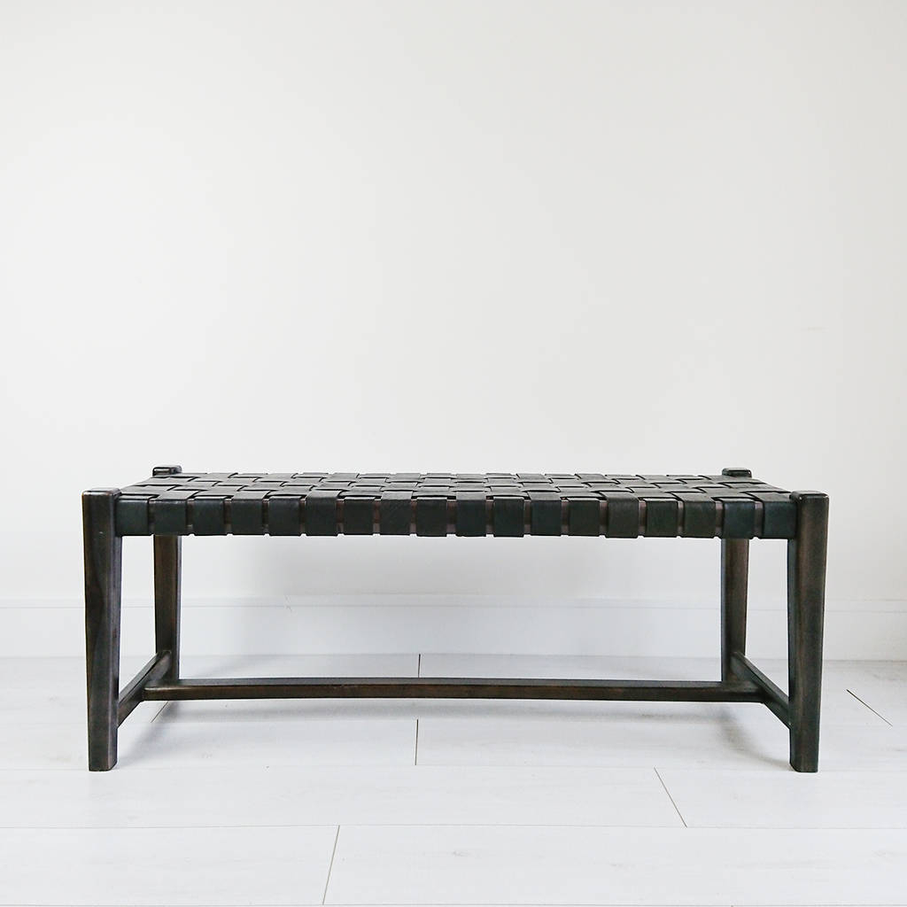 Preferred Abby Cocktail Tables With Regard To Black Abby Woven Leather Benchsouk Collective (View 16 of 20)