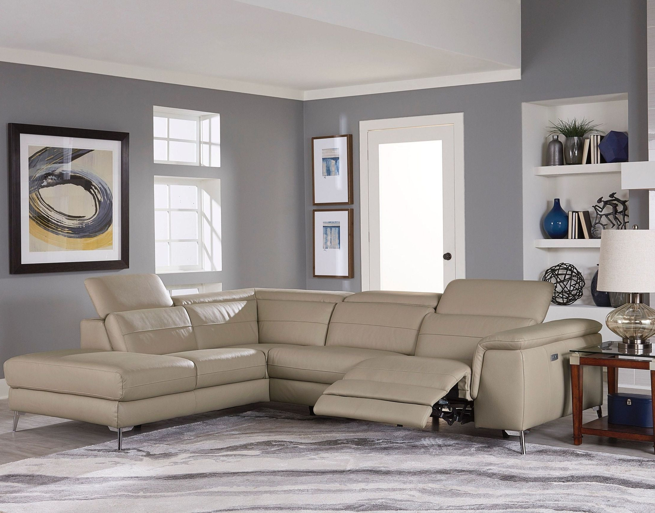 Preferred Cinque Taupe Leather Power Reclining Sectional From Homelegance Inside Glamour Ii 3 Piece Sectionals (View 18 of 20)