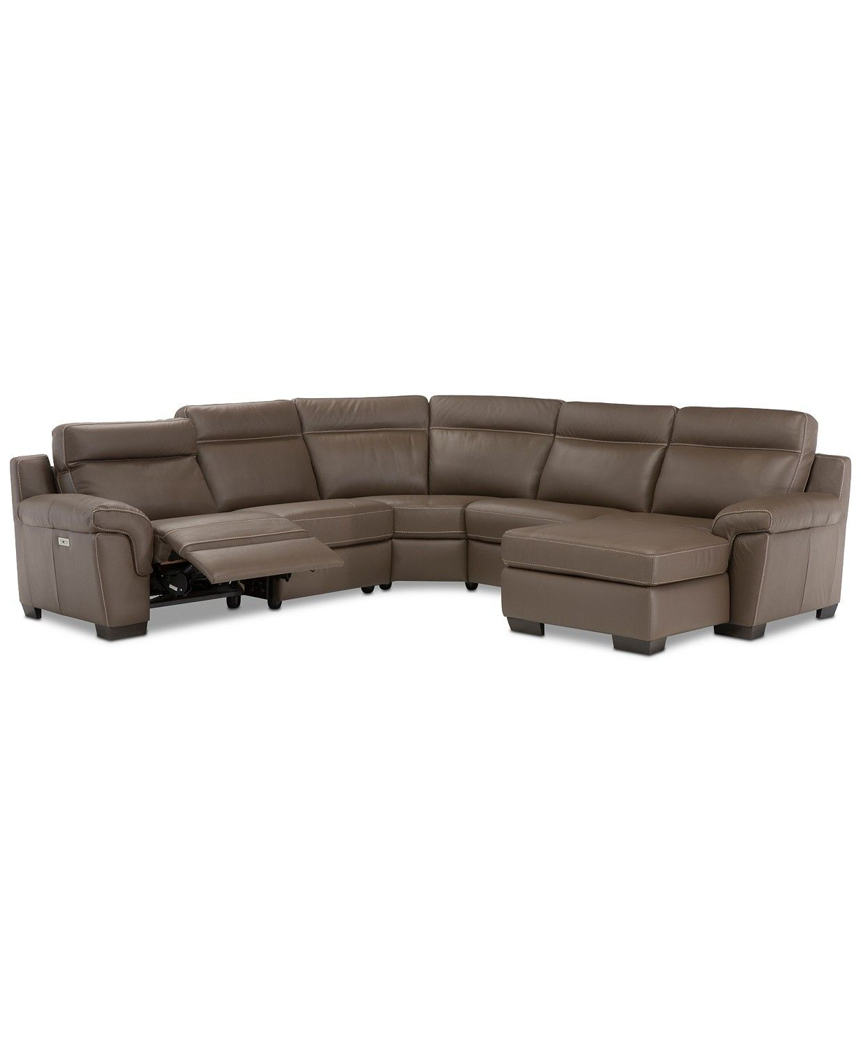 Preferred Clyde Saddle 3 Piece Power Reclining Sectionals With Power Headrest & Usb Within Julius Ii 5 Pc. Leather Chaise Sectional Sofa With 1 Power Recliner (Gallery 2 of 20)