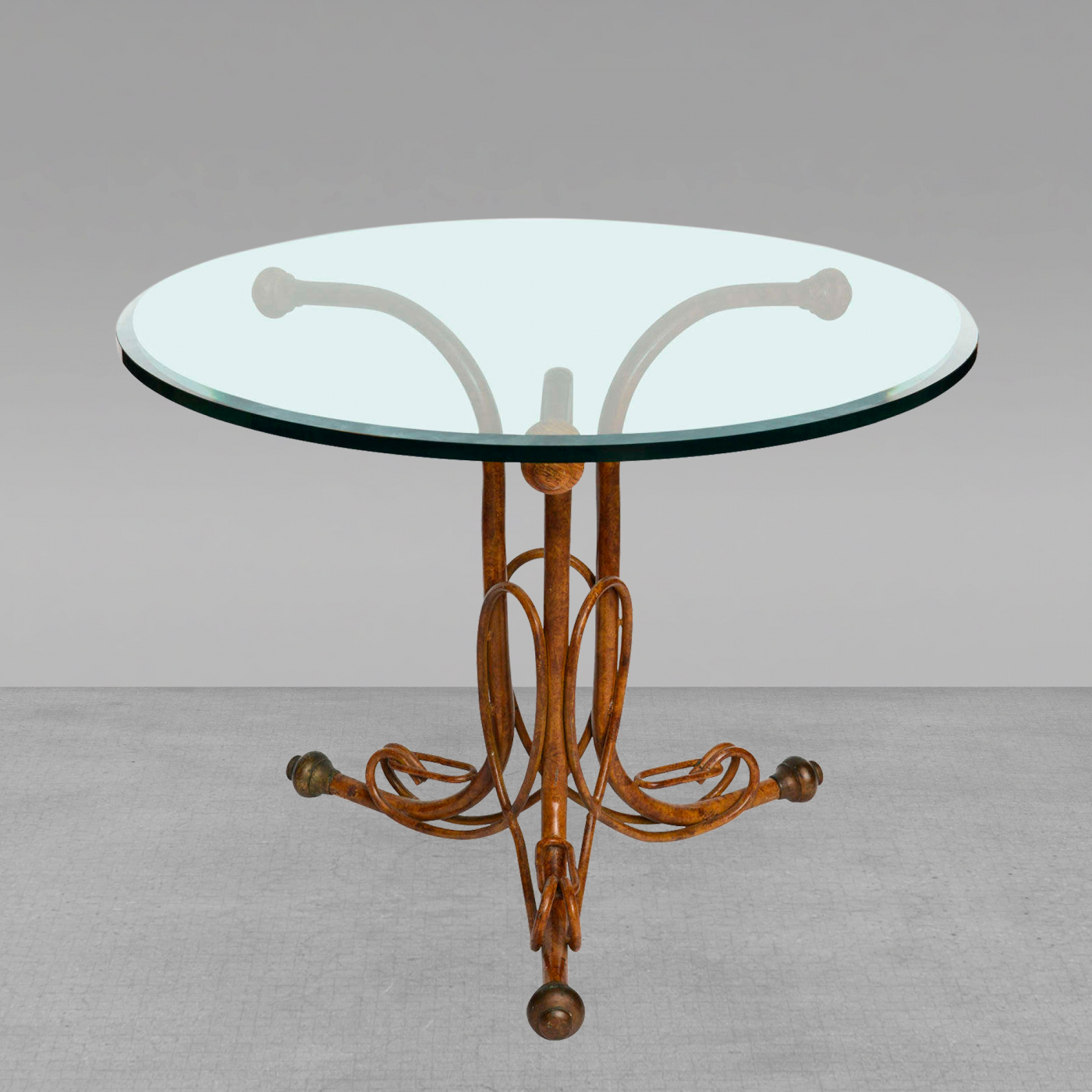 Preferred Faux Bois Coffee Tables Within An Unusual Faux Bois Painted Metal, Glass Top Table Marked Thonet (View 14 of 20)