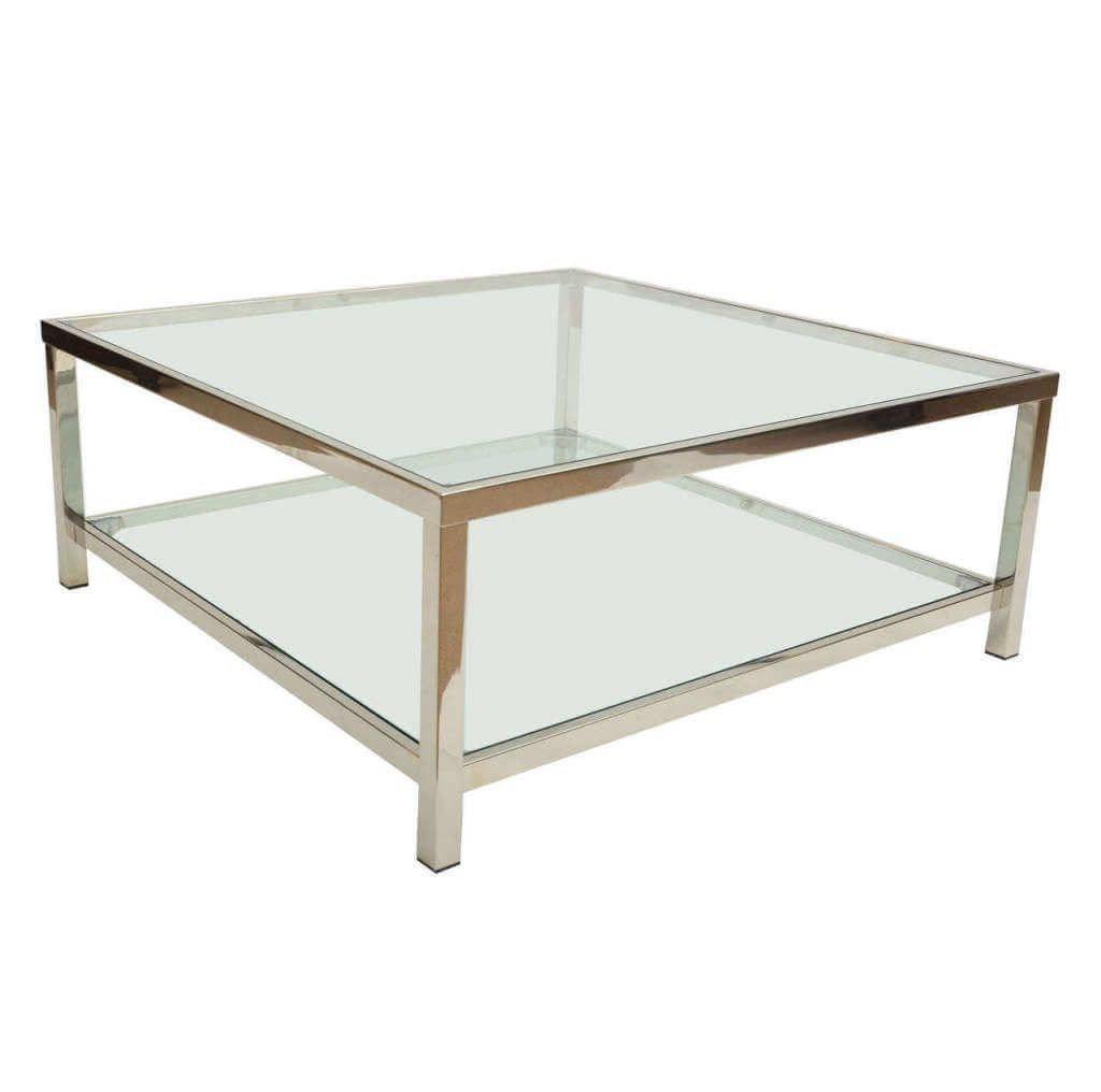 Preferred Furniture: Smart 2 Tier Square Glass Coffee Table With Chromed Frame With Regard To Smart Glass Top Coffee Tables (View 16 of 20)