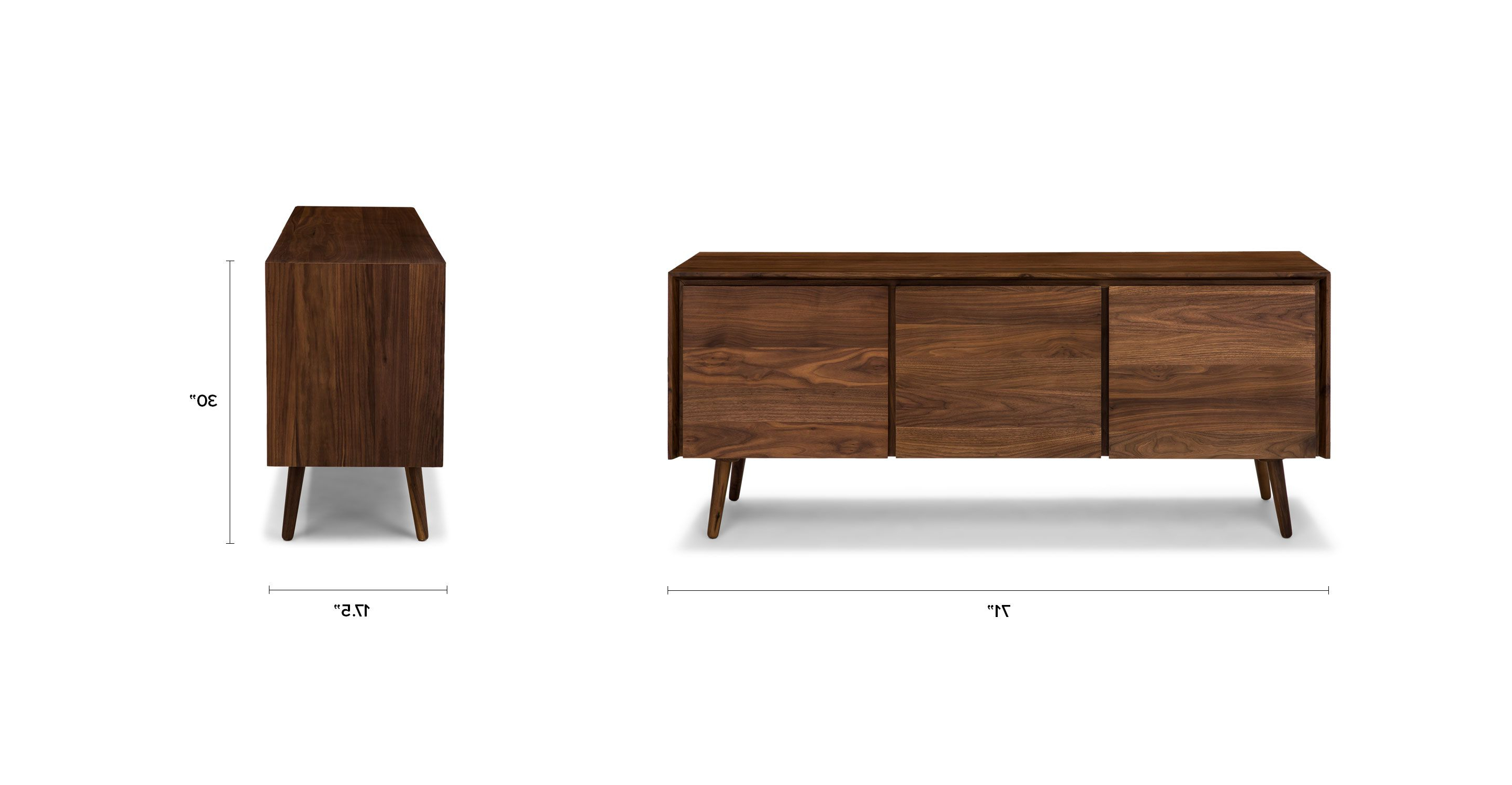 "Preferred Lockwood Sideboards Pertaining To Seno Walnut 71"" Sideboard (View 16 of 20)"