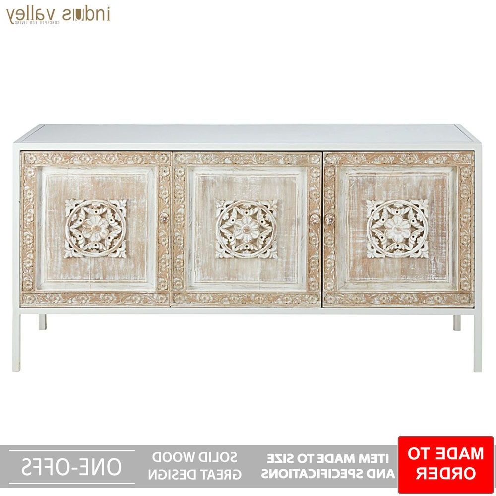 Preferred Made To Order Floral Carved Wood Metal Base Sideboard Buffet Hutch Throughout 4 Door 3 Drawer White Wash Sideboards (View 11 of 20)