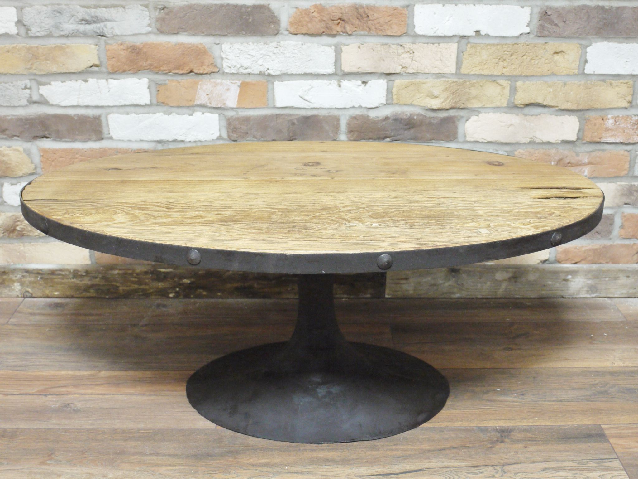Preferred Reclaimed Elm Cast Iron Coffee Tables With Regard To Oval Reclaimed Wood Cast Iron Coffee Table (View 4 of 20)