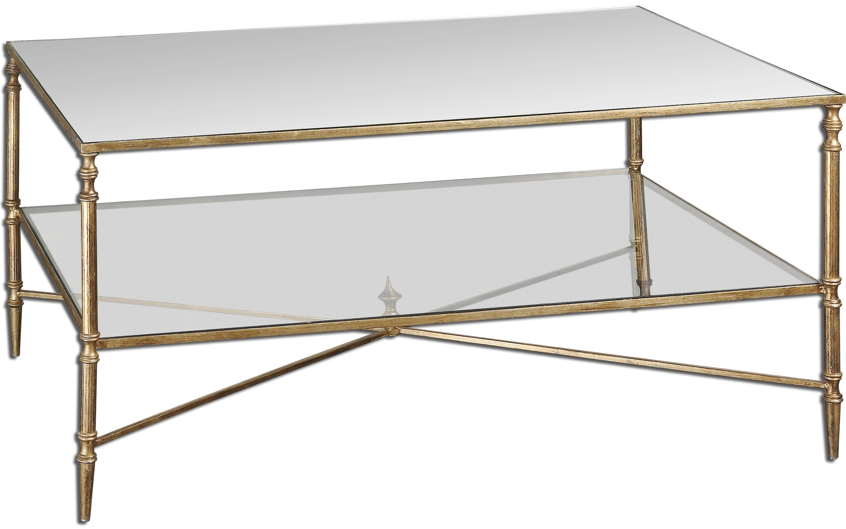 Preferred Rectangular Brass Finish And Glass Coffee Tables In Nicolina Coffee Table, Gold – Coffee Tables – Living Room – Furniture (View 3 of 20)