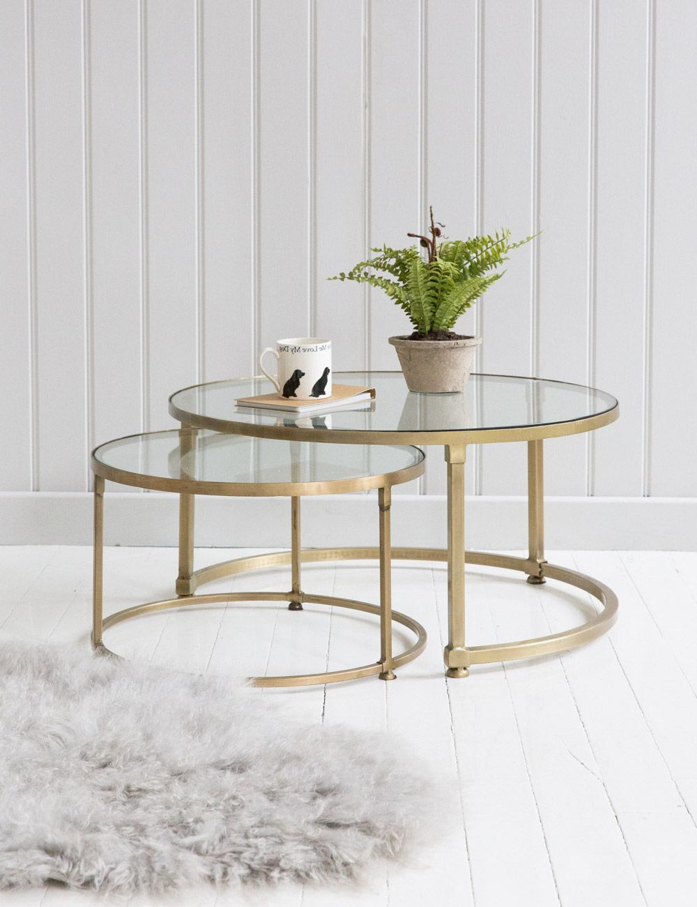 Preferred Rectangular Brass Finish And Glass Coffee Tables Pertaining To Coco Nesting Round Glass Coffee Tables In 2018 (Gallery 16 of 20)