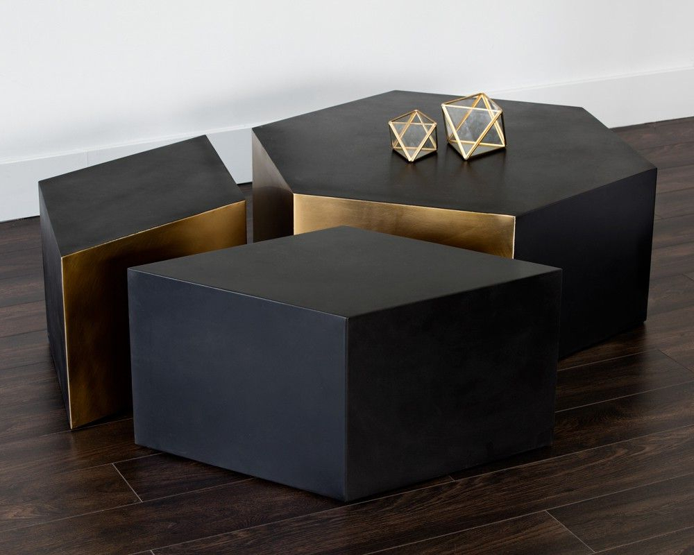 Preferred Seymour Coffee Table With Two Seymour End Tables – Geometric, Black Throughout Alcide Rectangular Marble Coffee Tables (View 16 of 20)