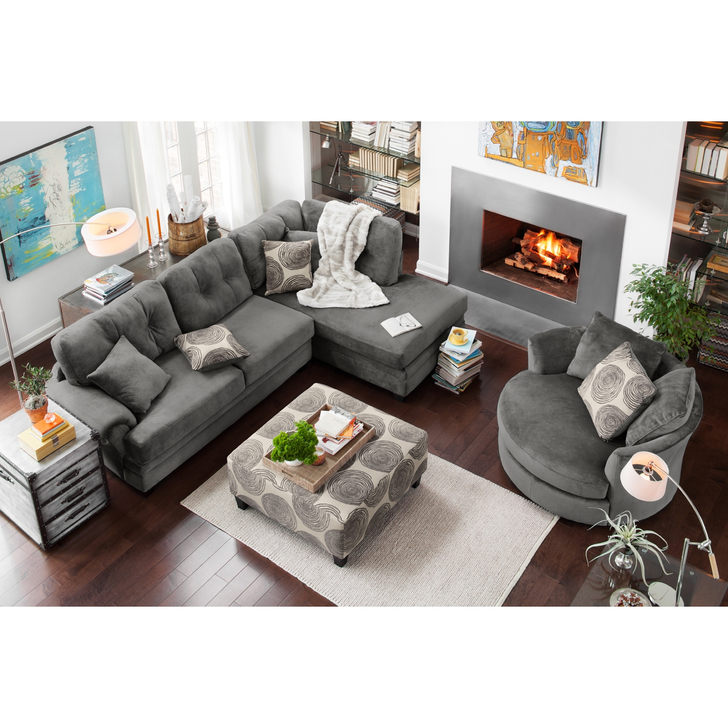 Preferred Tenny Dark Grey 2 Piece Right Facing Chaise Sectionals With 2 Headrest Pertaining To Left Facing Sectional Sofa Leather Arm Truscotti Stock Rooms Gray (View 16 of 20)
