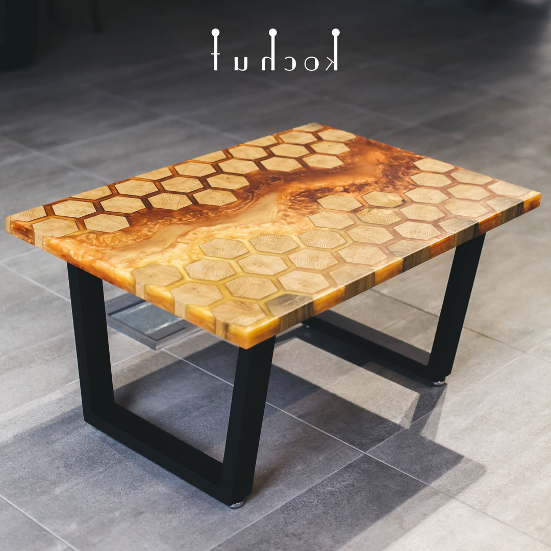 Preferred Waxed Metal Coffee Tables In Coffee Table «Honeycomb». Oak, Amber Epoxy, Wax, Natural Oil, Metal Legs (Gallery 5 of 20)