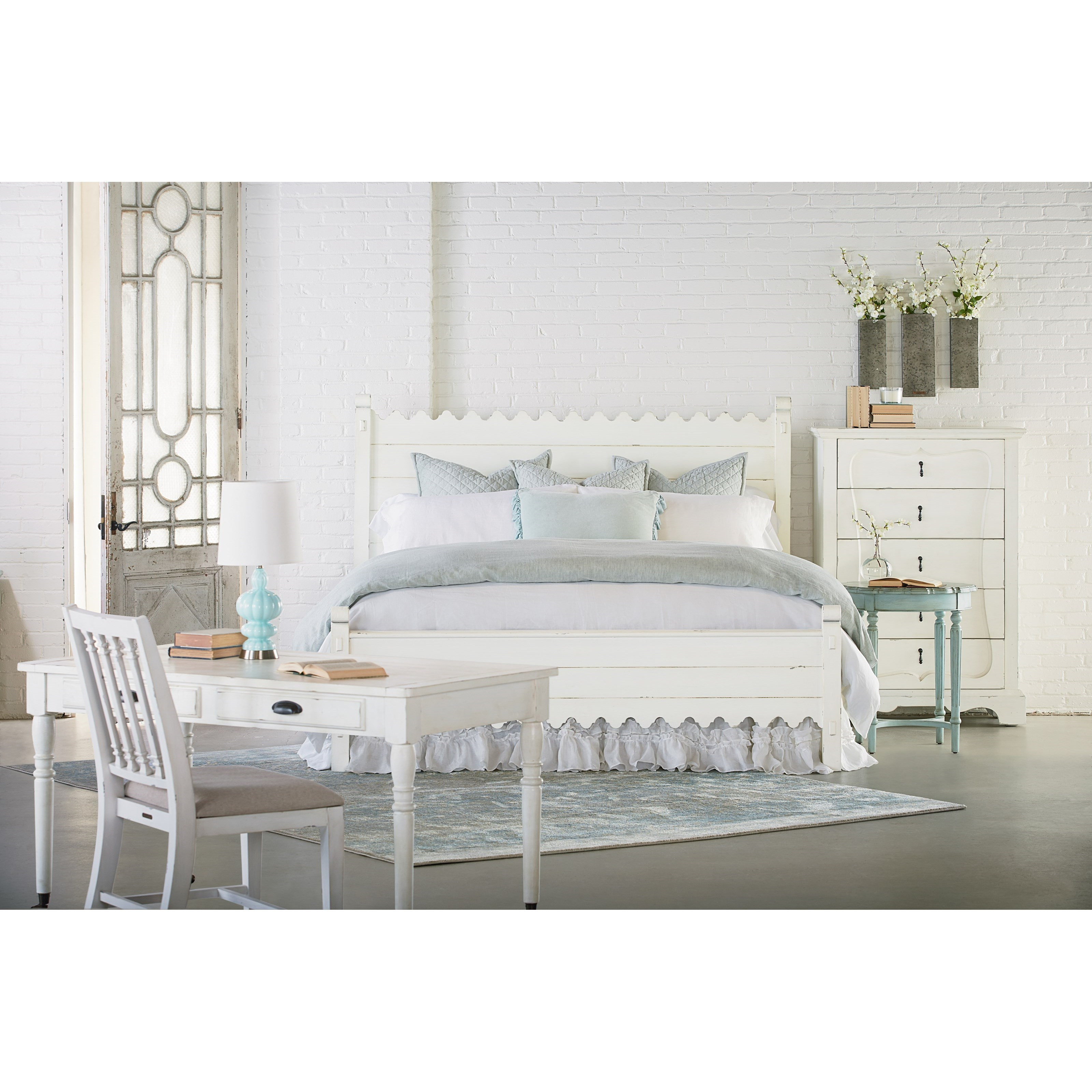 Queen Bed With Scallop Trimmingmagnolia Homejoanna Gaines Intended For Most Up To Date Magnolia Home Scallop Antique White Cocktail Tables (Gallery 11 of 20)