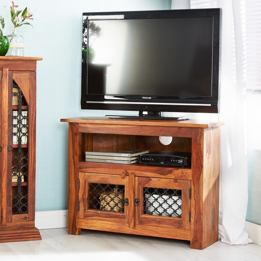 Rani Indian Rosewood Furniture Corner Plasma Tv Stand / Unit Table 2 For 2019 Rani 4 Door Sideboards (View 7 of 20)