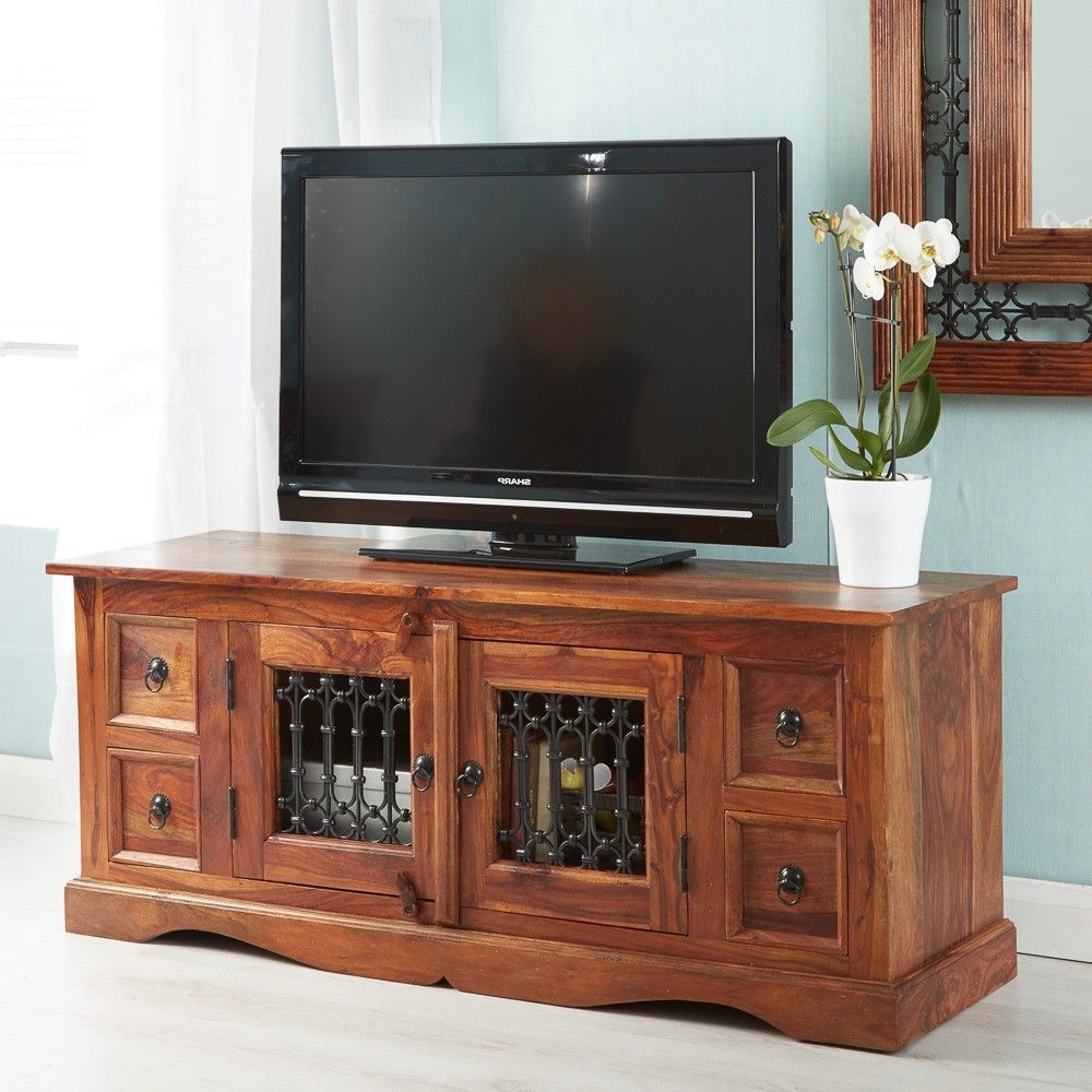 Rani Indian Rosewood Furniture Plasma Media Tv Unit Table 2 Doors 4 Pertaining To Current Rani 4 Door Sideboards (Gallery 20 of 20)