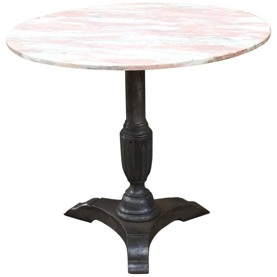 Recent 1930S Round Pink Marble And Cast Iron Bistro Café Pedestal Table With Regard To Intertwine Triangle Marble Coffee Tables (View 11 of 20)